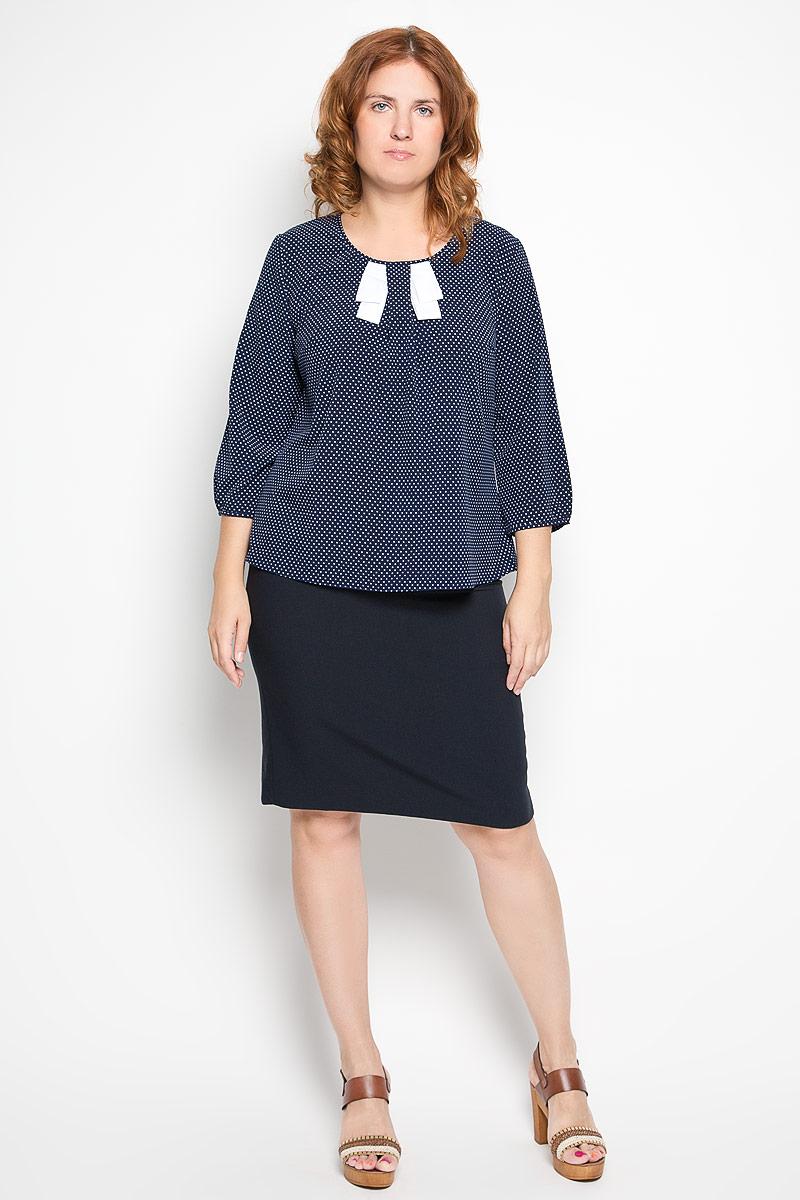 Блузка1639-753мСтильная женская блуза Milana Style, выполненная из эластичного полиамида, подчеркнет ваш уникальный стиль и поможет создать оригинальный женственный образ. Блузка с рукавами 3/4 и круглым вырезом горловины оформлена контрастным принтом в мелкий горох. У горловины блузка украшена декоративными петлями из контрастного материала. Такая блузка идеально подойдет для жарких летних дней. Эта блузка будет дарить вам комфорт в течение всего дня и послужит замечательным дополнением к вашему гардеробу.
