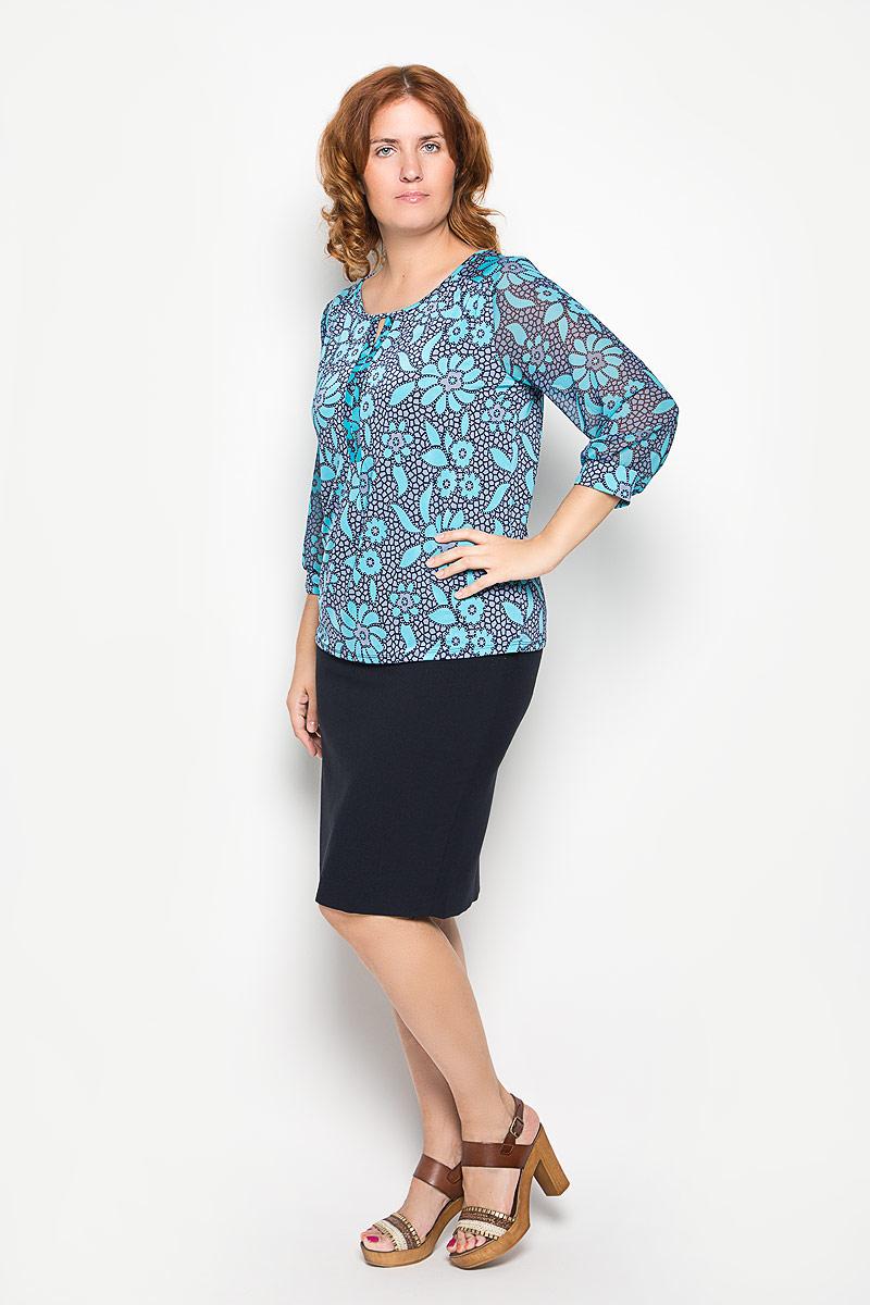Блузка женская. 1611-723м1611-723мСтильная женская блуза Milana Style, выполненная из эластичного полиамида, подчеркнет ваш уникальный стиль и поможет создать оригинальный женственный образ. Блузка с рукавами 3/4 и круглым вырезом горловины оформлена оригинальным крупным цветочным принтом. Рукава дополнены эластичными манжетами. Такая блузка идеально подойдет для жарких летних дней. Эта блузка будет дарить вам комфорт в течение всего дня и послужит замечательным дополнением к вашему гардеробу.