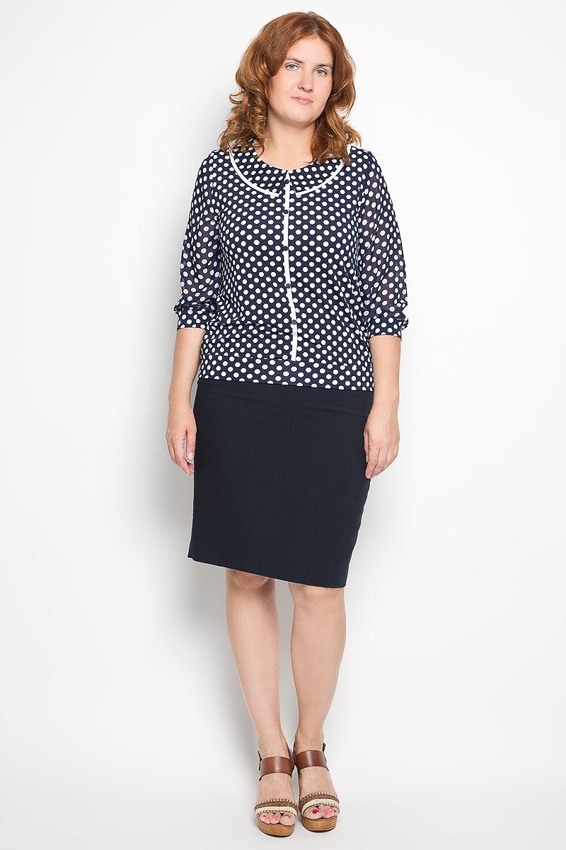 Блузка1224-723мСтильная женская блуза Milana Style, выполненная из эластичного полиамида, подчеркнет ваш уникальный стиль и поможет создать оригинальный женственный образ. Блузка с рукавами 3/4 и круглым вырезом горловины оформлена контрастным принтом в горох. Горловина изделия украшена вставкой, имитирующей отложной воротник, рукава дополнены эластичными манжетами. Спереди блузка оформлена декоративными пуговицами. Такая блузка идеально подойдет для жарких летних дней. Эта блузка будет дарить вам комфорт в течение всего дня и послужит замечательным дополнением к вашему гардеробу.