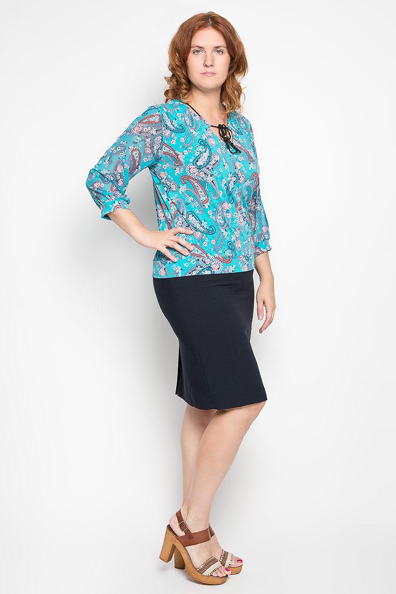 Блузка женская. 1918-723м1918-723мСтильная женская блуза Milana Style, выполненная из эластичного полиамида, подчеркнет ваш уникальный стиль и поможет создать оригинальный женственный образ. Блузка с рукавами 3/4 и V-образным вырезом горловины оформлена контрастным этническим принтом. Горловина блузки дополнена шнурком, который позволяет регулировать ее объем. Такая блузка идеально подойдет для жарких летних дней. Эта блузка будет дарить вам комфорт в течение всего дня и послужит замечательным дополнением к вашему гардеробу.