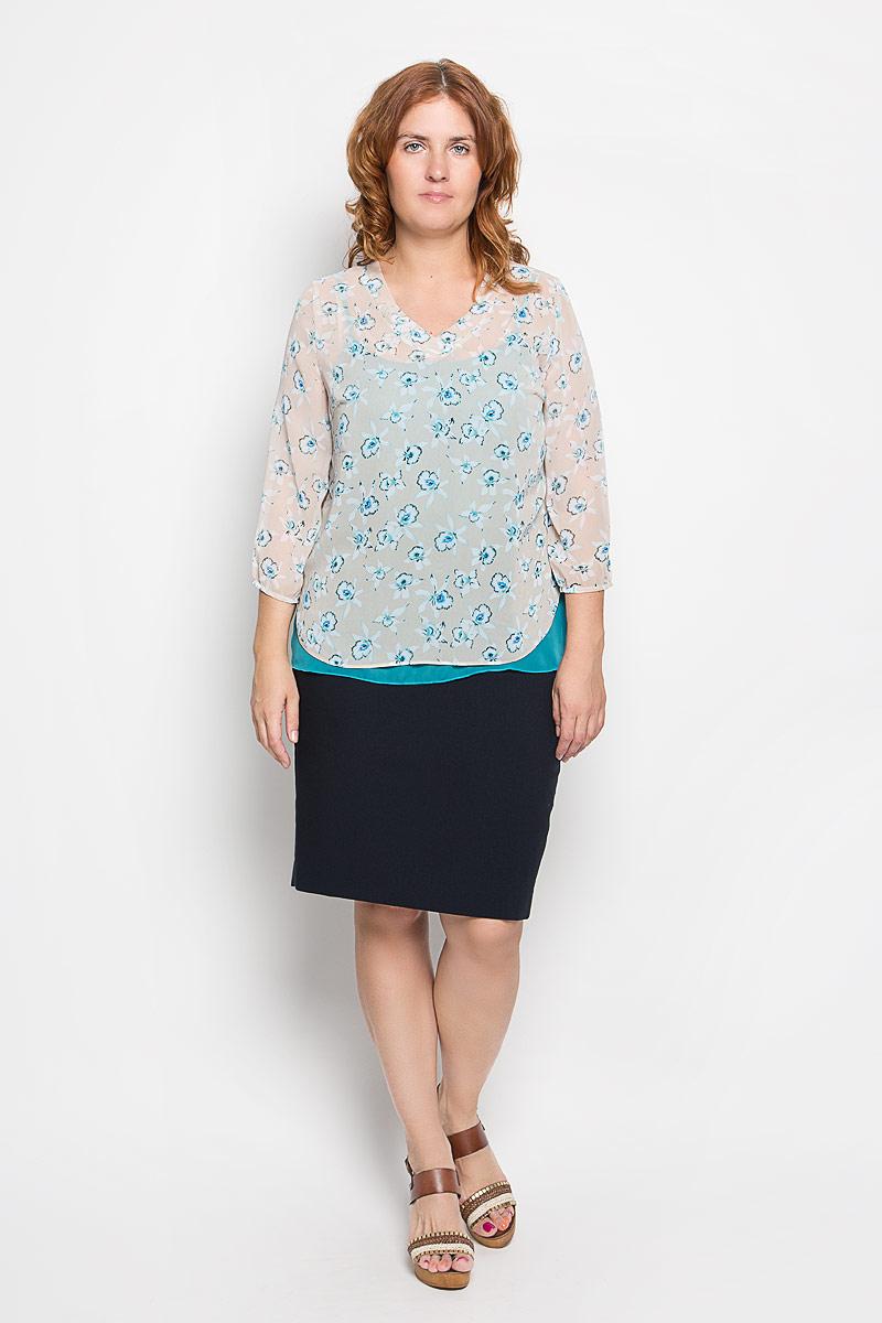 Твинсет женский. 1862-623м1862-623мСтильный женский твинсет Milana Style, выполненный из полупрозрачного высококачественного материала, будет отлично на вас смотреться. Модель свободного кроя представляет собой яркую майку на тонких бретельках, поверх которой одевается блуза, оформленная цветочным принтом. Блуза выполнена с V-образным вырезом горловины и рукавами 3/4, дополнена боковыми разрезами. Классический покрой, лаконичный дизайн, безукоризненное качество. Идеальный вариант для тех, кто ценит комфорт и качество.