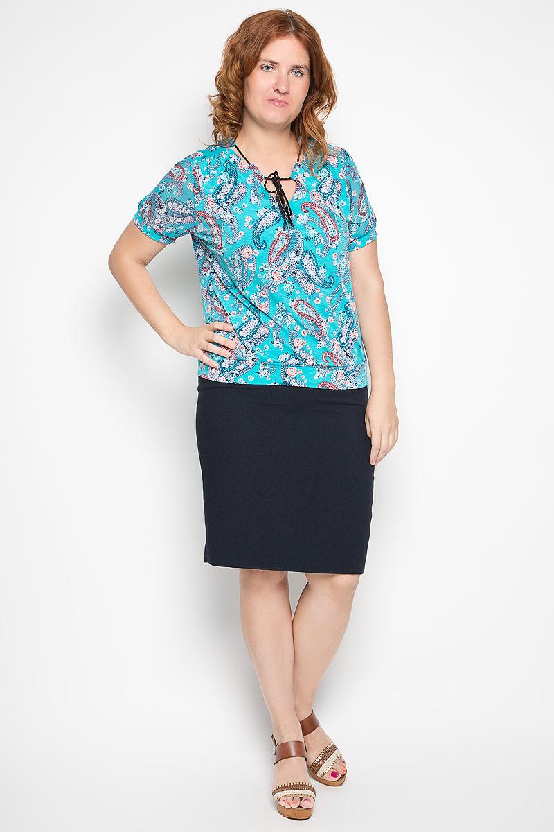 Блузка1918-725мСтильная блузка Milana Style, выполненная из полиамида с добавлением эластана, подчеркнет ваш уникальный стиль и поможет создать женственный образ. Модель c V-образным вырезом горловины и короткими рукавами оформлена оригинальным принтом. Воротник дополнен широкими шлевками, сквозь которые продевается плетеный шнурок с декоративными элементами. Рукава выполнены из полупрозрачного материала и дополнены эластичными манжетами. Такая блузка будет дарить вам комфорт в течение всего дня и послужит замечательным дополнением к вашему гардеробу.