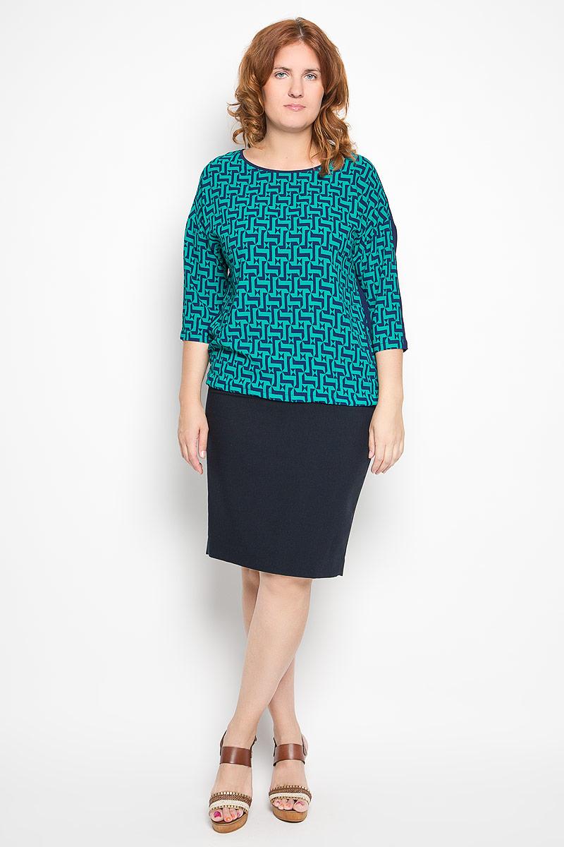Блузка женская. 1908-753м1908-753мСтильная женская блуза Milana Style, выполненная из эластичного полиамида, подчеркнет ваш уникальный стиль и поможет создать оригинальный женственный образ. Блузка с рукавами 3/4 и круглым вырезом горловины оформлена контрастным геометрическим принтом. Низ блузки дополнен шнурком-кулиской, позволяющим регулировать его объем. Спереди расположены два втачных кармана. Такая блузка идеально подойдет для жарких летних дней. Эта блузка будет дарить вам комфорт в течение всего дня и послужит замечательным дополнением к вашему гардеробу.