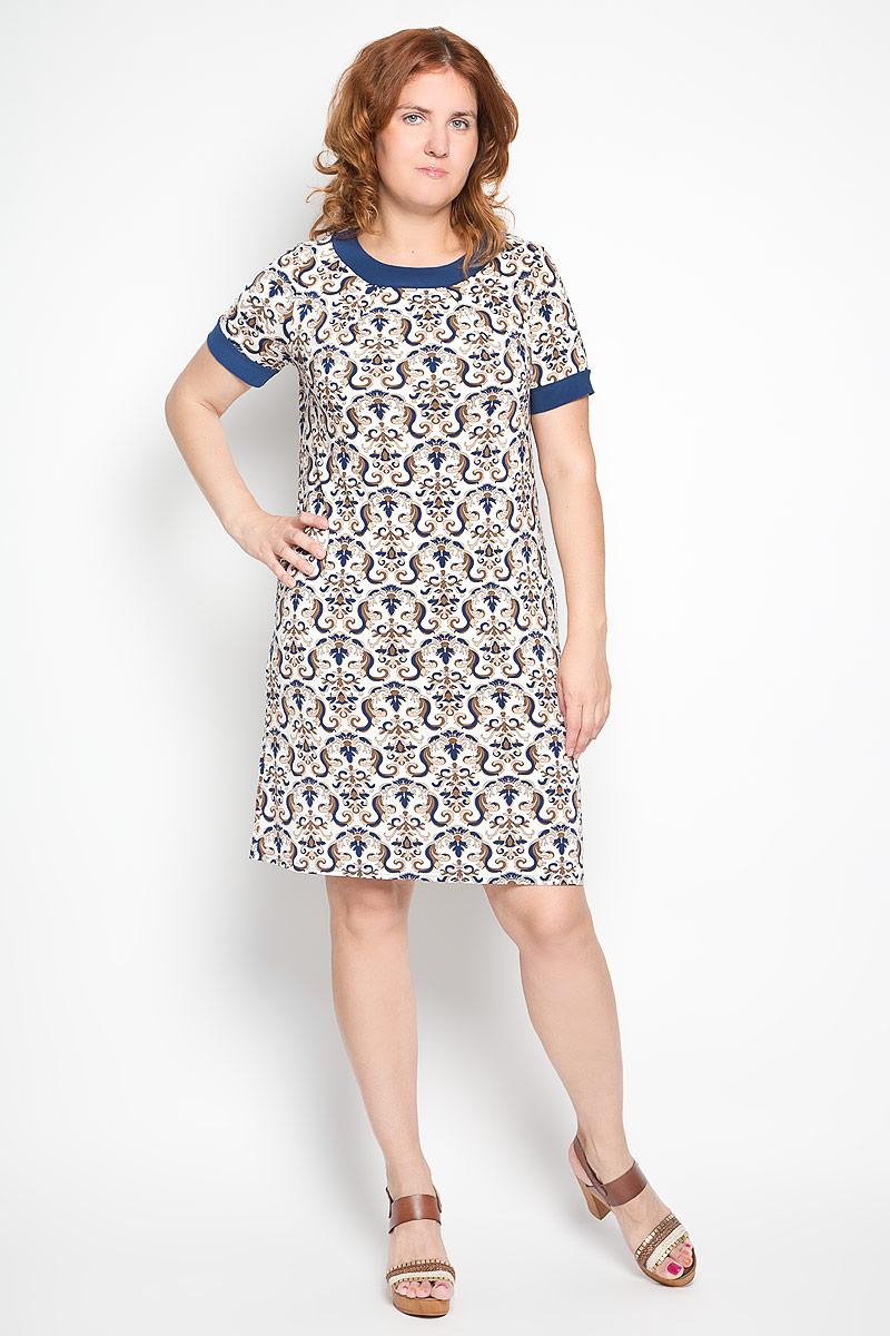 Платье. 878м878мПлатье Milana Style станет модным и стильным дополнением к вашему гардеробу. Выполненное из высококачественного материала, оно легкое и приятное на ощупь, не сковывает движений, хорошо вентилируется. Модель немного расклешенного кроя к низу, с круглым вырезом горловины и короткими рукавами оформлено оригинальным принтом. Линия горловины дополнена декоративным складками. Эффектное платье поможет создать привлекательный образ, а также подарит вам комфорт.