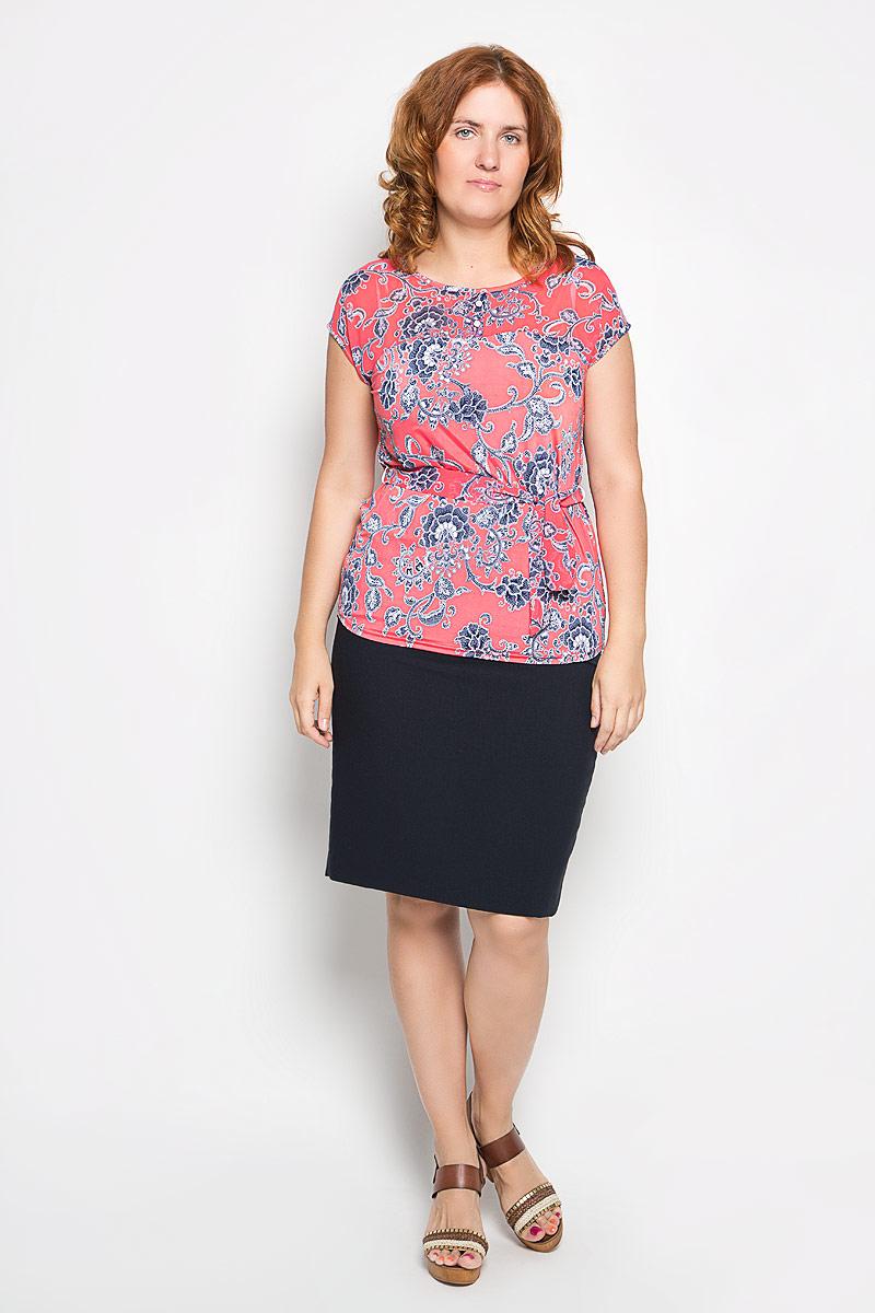 Блузка женская. 932м923мСтильная женская блуза Milana Style, выполненная из полиэстера с добавлением лайкры и вискозы, подчеркнет ваш уникальный стиль и поможет создать оригинальный женственный образ. Удлиненная блузка с цельнокроенными короткими рукавами и круглым вырезом горловины оформлена оригинальным цветочным узором. Модель украшена декоративными пуговицами у горловины, а также дополнена текстильным поясом в тон. На талии расположены шлевки для ремня. Такая блузка идеально подойдет для жарких летних дней. Эта блузка будет дарить вам комфорт в течение всего дня и послужит замечательным дополнением к вашему гардеробу.