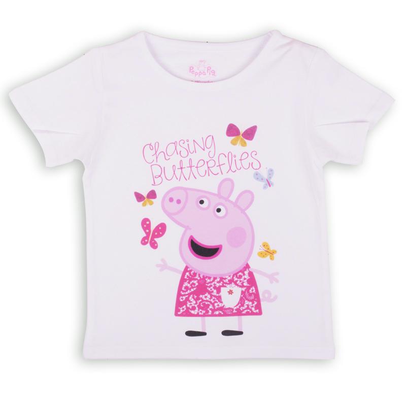 ZG 02487-W1Удобная и комфортная в носке футболка с коротким рукавом с изображением мультипликационного героя Свинки Пеппы станет отличным дополнением к повседневному гардеробу девочки.