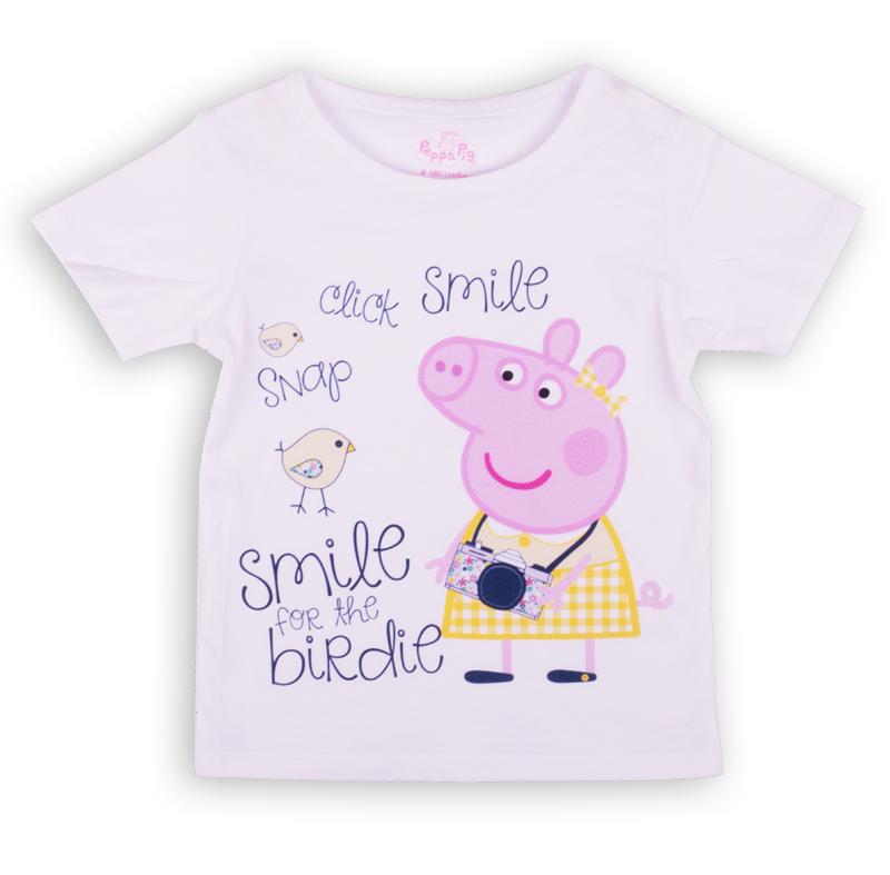 ZG 02490-W1Удобная футболка с коротким рукавом для девочки, с изображением мультипликационного героя Peppa Pig.