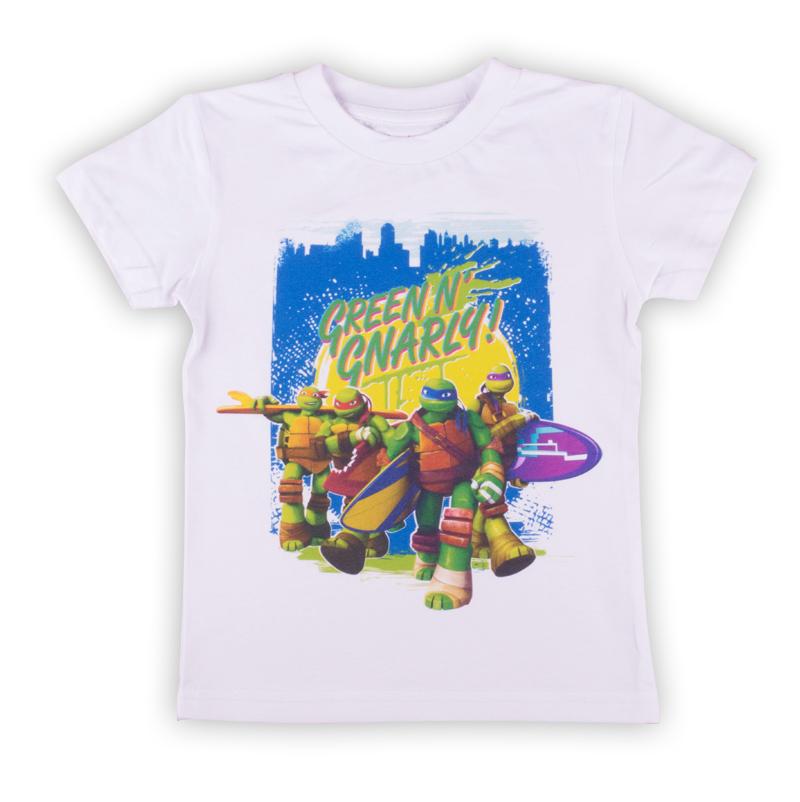 ФутболкаZВ 02278-W1Удобная и комфортная в носке футболка с коротким рукавом с изображением мультипликационных героев Черепашек Ниндзя станет отличным дополнением к повседневному гардеробу мальчика.