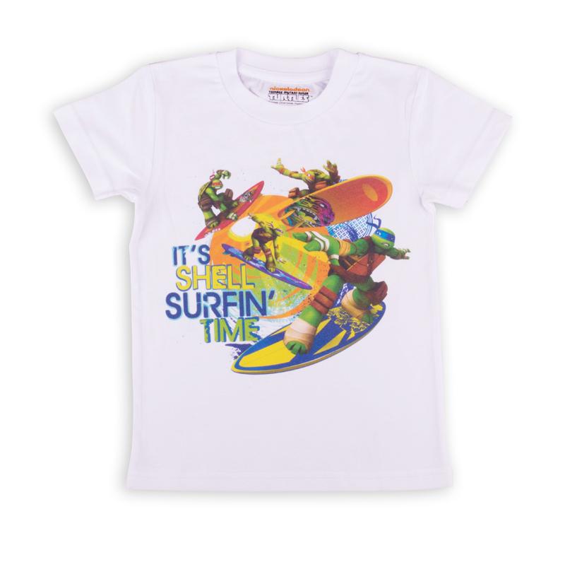 Футболка для мальчиков. ZВ 02279-W1ZВ 02279-W1Удобная футболка с коротким рукавом для мальчика, с изображением мультипликационных героев Черепашки-ниндзя.