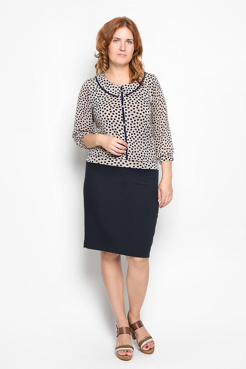 Блузка1224-723мСтильная женская блуза Milana Style, выполненная из эластичного полиамида, подчеркнет ваш уникальный стиль и поможет создать оригинальный женственный образ. Блузка с рукавами 3/4 и круглым вырезом горловины оформлена контрастным принтом. Горловина изделия украшена вставкой, имитирующей отложной воротник, рукава дополнены эластичными манжетами. Спереди блузка оформлена декоративными пуговицами. Такая блузка идеально подойдет для жарких летних дней. Эта блузка будет дарить вам комфорт в течение всего дня и послужит замечательным дополнением к вашему гардеробу.