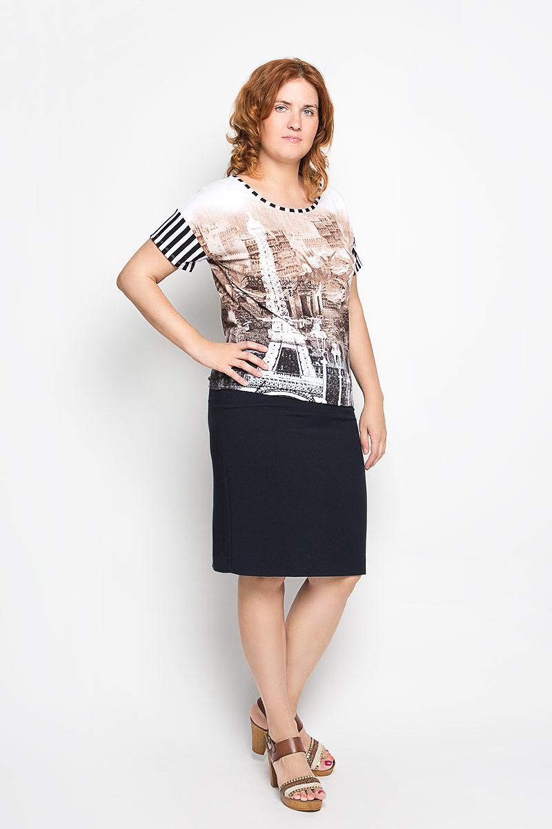 Блузка женская. 1946-715м1946-715мСтильная женская блузка Milana Style, выполненная из вискозы с добавлением эластана, подчеркнет ваш уникальный стиль и поможет создать женственный образ. Модель c круглым вырезом горловины и короткими рукавами. Модель оформлена изображением Эйфелевой башни и парижских улочек. Такая блузка будет дарить вам комфорт в течение всего дня и послужит замечательным дополнением к вашему гардеробу.