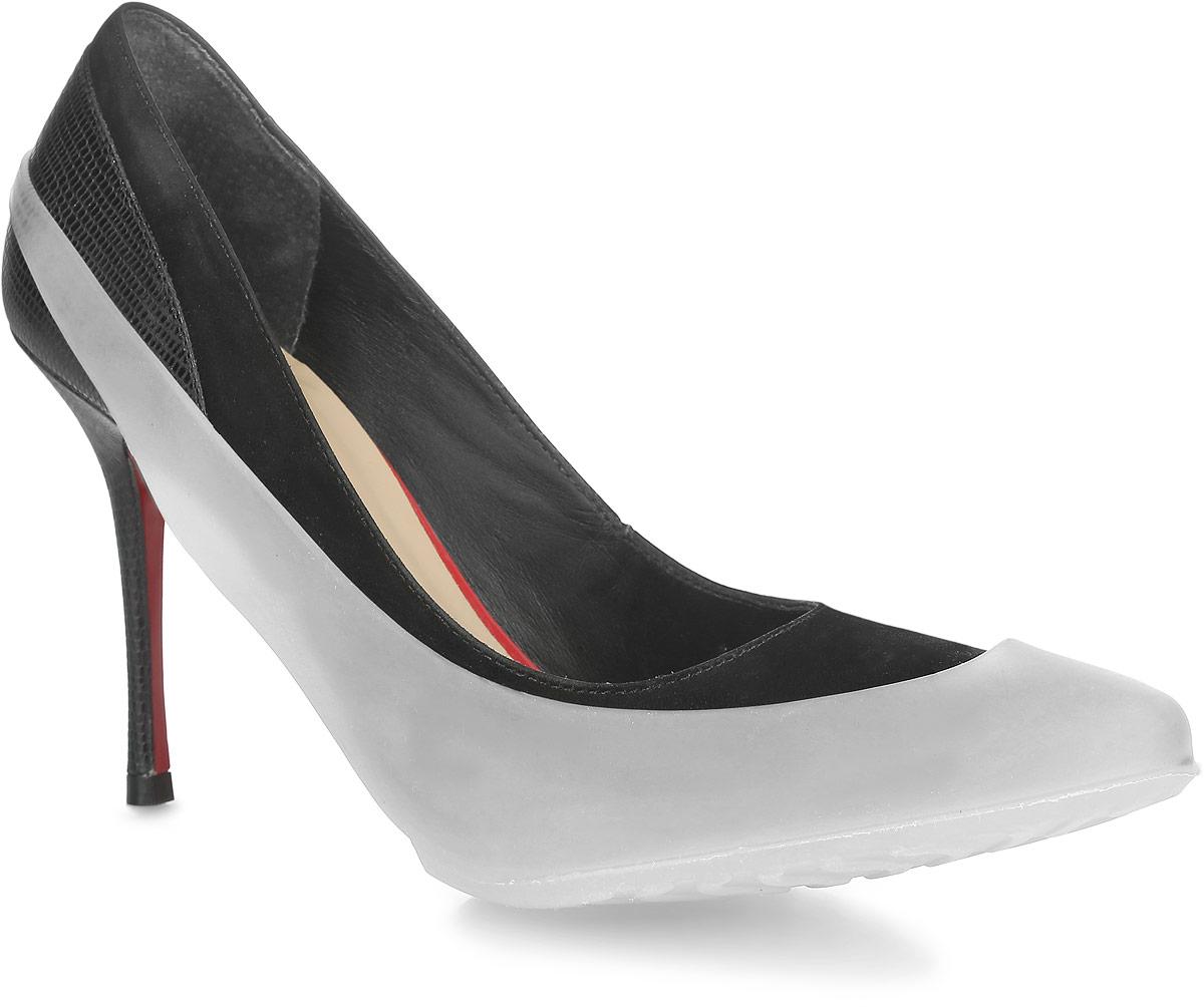 Галоши на обувь женские. WKWKOBHСтильные женские галоши предназначены для защиты обуви без платформы и с высотой каблука от 5 до 15 см. Модель выполнена из резины с добавлением силикона. Сначала на обувь надевается носочная часть галош, а затем пяточная часть. Галоши защищают обувь от влаги, грязи, снега, соли и песка. Модель принимает форму обуви, легко моется и быстро сохнет. Рифление на подошве обеспечивает отличное сцепление с любой поверхностью. Модные галоши не только защитят вашу обувь, они помогут изменить ее внешний вид, сделав его более эффектным.