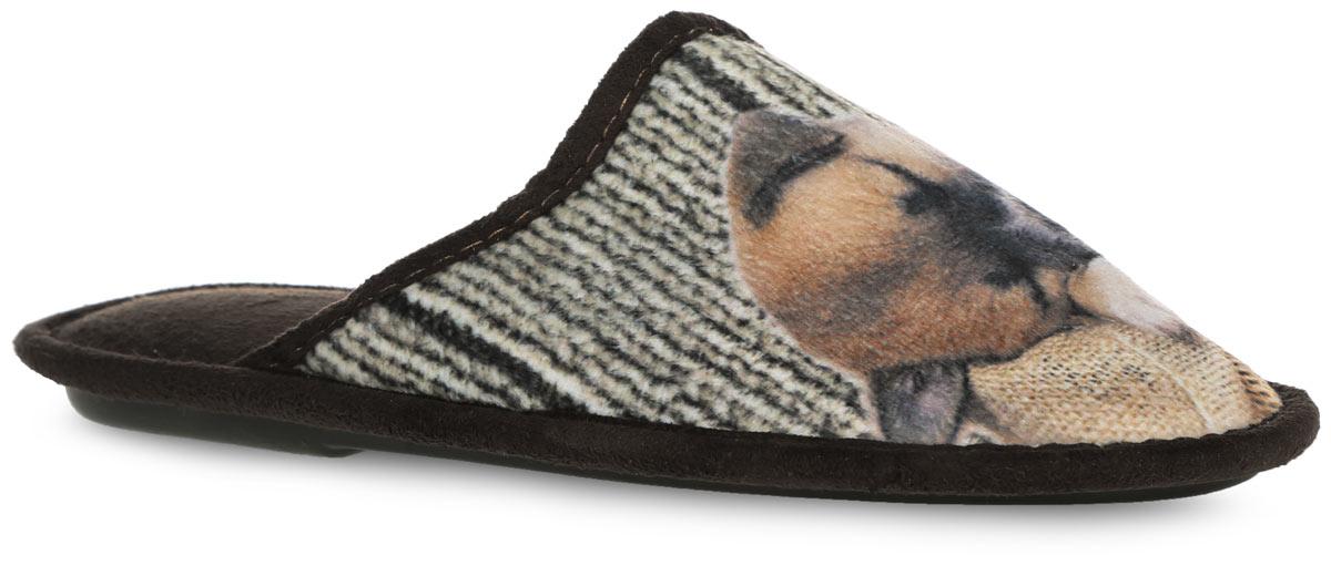 Тапки женские. 0183-F BWT0183-F BWTЖенские тапки от Bris выполнены из мягкого, приятного на ощупь текстиля. Верх оформлен изображением спящего щенка. Модель не только защитит ваши ноги от холода, но и обеспечит комфорт. Тапки идеально подойдут для ношения в помещениях с любыми типами полов. Рельефная подошва обеспечивает сцепление с любой поверхностью. Легкие и мягкие тапки подарят чувство уюта и комфорта.