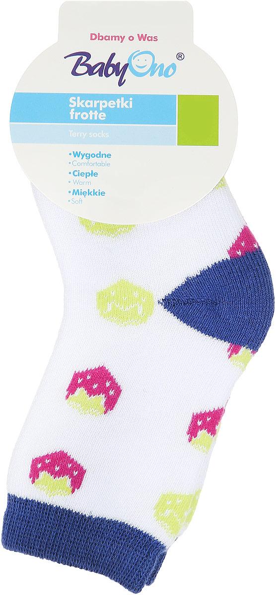 581/02Детские махровые носочки BabyOno выполнены хлопка с добавлением полиамида и эластана. Материал изделия очень мягкий и приятный на ощупь, хорошо тянется, не деформируясь. Эластичная резинка мягко облегает ножку ребенка, обеспечивая удобство и комфорт. Модель оформлена красочным принтом с изображением ягод. Такие носочки станут отличным дополнением к детскому гардеробу!