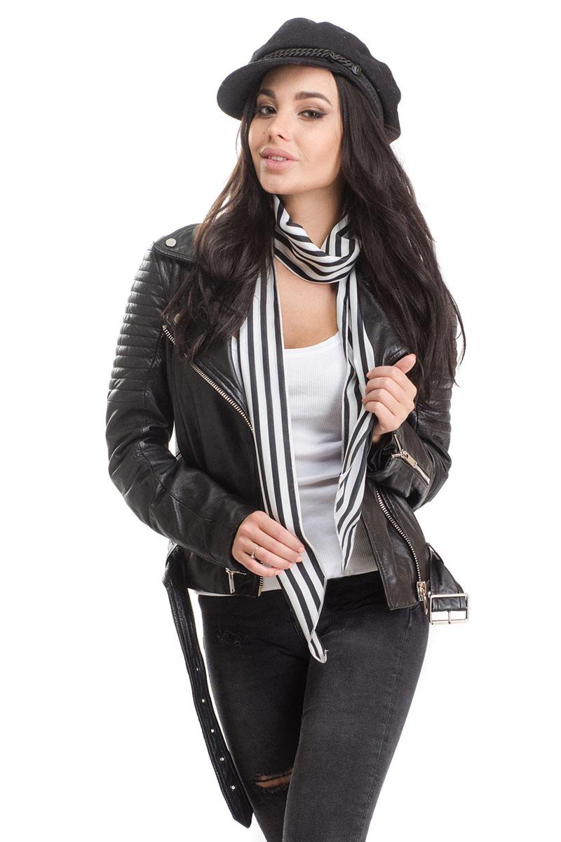 Шарф4B-1610Стильный женский шарф Moltini, выполнен из высококачественного полиэстера. Модель имеет края треугольной формы и оформлена контрастным принтом в полоску.