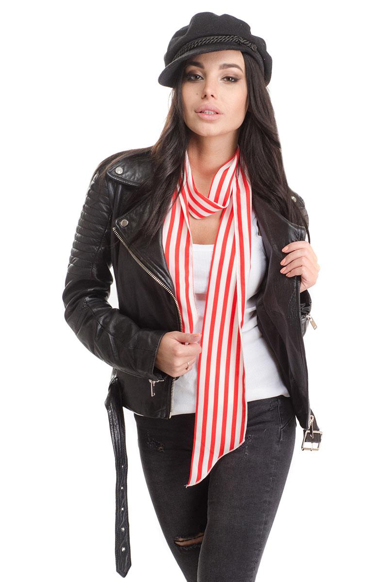 Шарф4C-1610Стильный женский шарф Moltini, выполнен из высококачественного полиэстера. Модель имеет края треугольной формы и оформлена контрастным принтом в полоску.