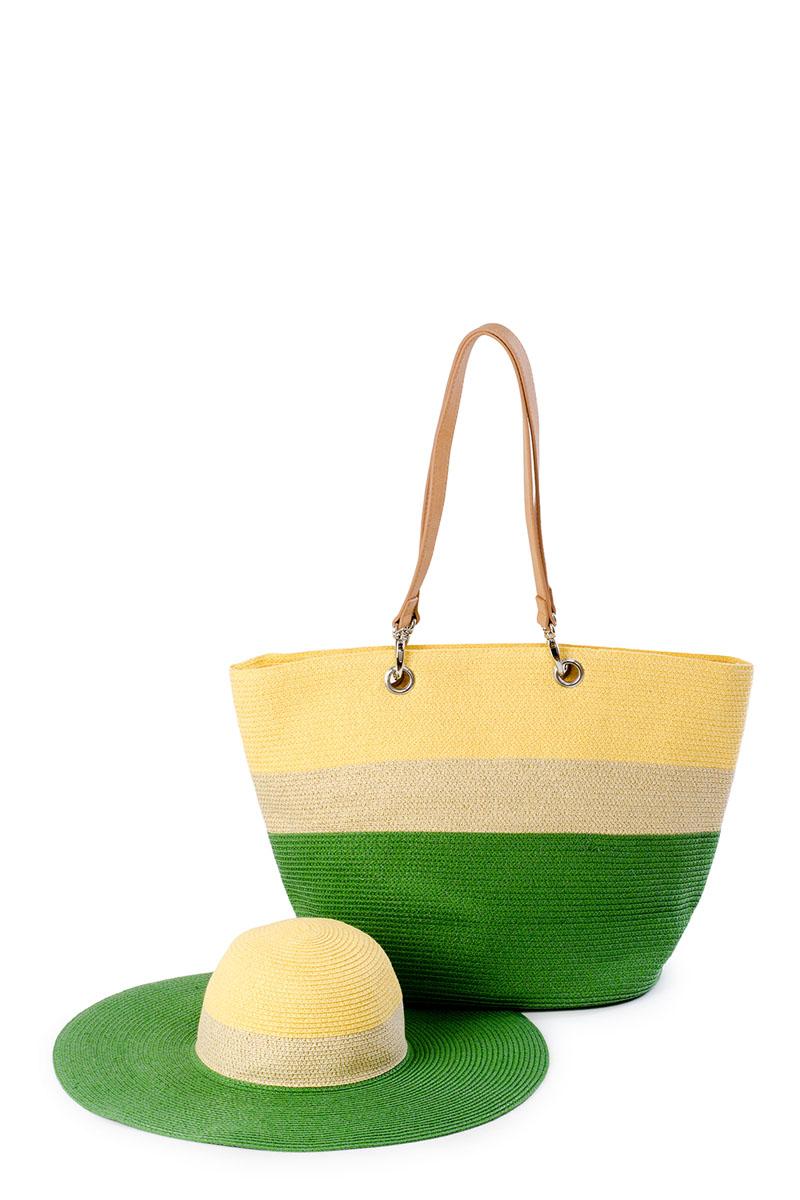 8E-1602Оригинальный пляжный комплект Moltini, состоящий из сумки и шляпы, выполнен из 100% целлюлозы. Комплект выполнен в едином стиле и оформлен контрастными оттенками. Сумка состоит из одного вместительного отделения и закрывается на застежку-молнию. Внутри размещены два накладных кармана для телефона и мелочей, а также врезной карман на застежке-молнии. Оригинальный дизайн ручек и натуральные материалы делают эту сумку особенно удобной для ношения на плече. Шляпа надежно защитит волосы и лицо от ярких солнечных лучей.