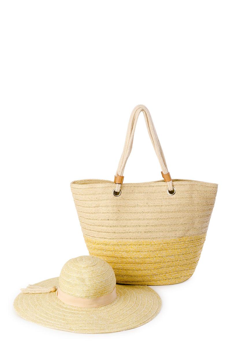 Комплект аксессуаров8J-1612Оригинальный пляжный комплект Moltini, состоящий из сумки и шляпы, выполнен из 100% целлюлозы. Комплект выполнен в едином стиле. Сумка состоит из одного вместительного отделения и закрывается на магнитный замок. Внутри размещены два накладных кармана для телефона и мелочей, а также врезной карман на застежке-молнии. Оригинальный дизайн ручек и натуральные материалы делают эту сумку особенно удобной для ношения на плече. Шляпа надежно защитит волосы и лицо от ярких солнечных лучей. Она выполнена в едином стиле с сумкой и достойно завершит комплект.