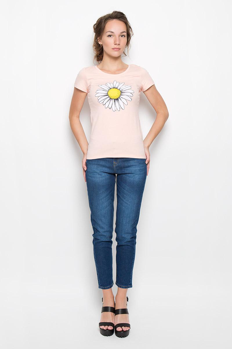 Футболка160087_12380_peachСтильная женская футболка F5 Chamomile, выполненная из эластичного хлопка, обладает высокой теплопроводностью, воздухопроницаемостью и гигроскопичностью, позволяет коже дышать. Модель с короткими рукавами и круглым вырезом горловины - идеальный вариант для создания стильного современного образа. Футболка оформлена крупным принтом с изображением цветка ромашки. Такая модель подарит вам комфорт в течение всего дня и послужит замечательным дополнением к вашему гардеробу.