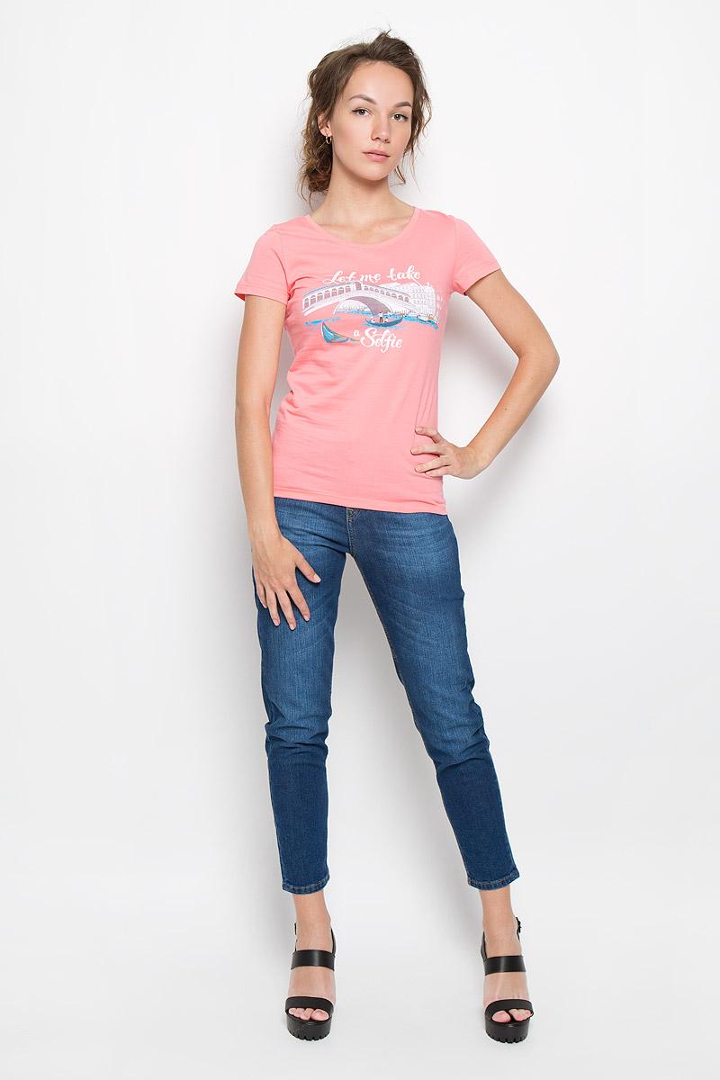 160081_12380_coralСтильная женская футболка F5 Selfie, выполненная из натурального хлопка, обладает высокой теплопроводностью, воздухопроницаемостью и гигроскопичностью, позволяет коже дышать. Модель с короткими рукавами и круглым вырезом горловины - идеальный вариант для создания стильного современного образа. Футболка оформлена оригинальным принтом с изображением моста и надписи Let me take a selfie. Такая модель подарит вам комфорт в течение всего дня и послужит замечательным дополнением к вашему гардеробу.