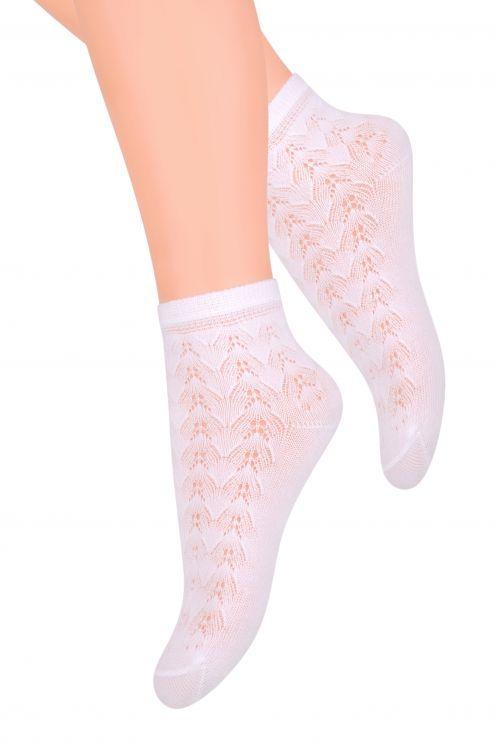Носки105 (GT1)Белые ажурные носки для девочек. Деликатные, лёгкие, хорошо пропускают воздух, отлично подходят на лето. Хлопок: 58%; полиамид: 37%; эластан: 5%