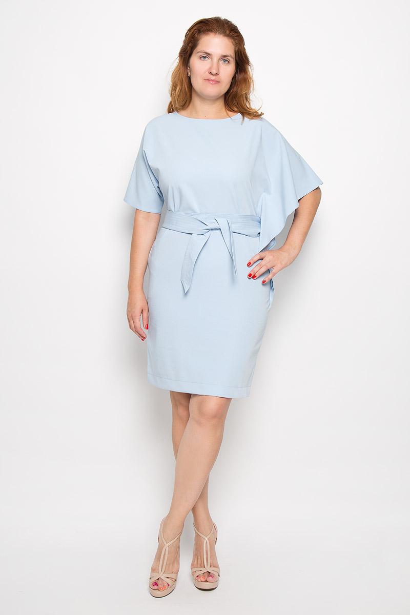 ПлатьеВендиЭлегантное платье Krisna Венди выполнено из высококачественного эластичного полиамида с добавлением вискозы. Такое платье обеспечит вам комфорт и удобство при носке и непременно вызовет восхищение у окружающих. Модель-миди с рукавами летучая мышь длиной до локтя и круглым вырезом горловины выгодно подчеркнет все достоинства вашей фигуры. Платье застегивается на молнию на спинке. В комплект входит широкий текстильный пояс. Рукава платья дополнены разрезами для пояса. Изысканное платье-миди создаст обворожительный и неповторимый образ. Это модное и удобное платье станет превосходным дополнением к вашему гардеробу, оно подарит вам удобство и поможет подчеркнуть свой вкус и неповторимый стиль.