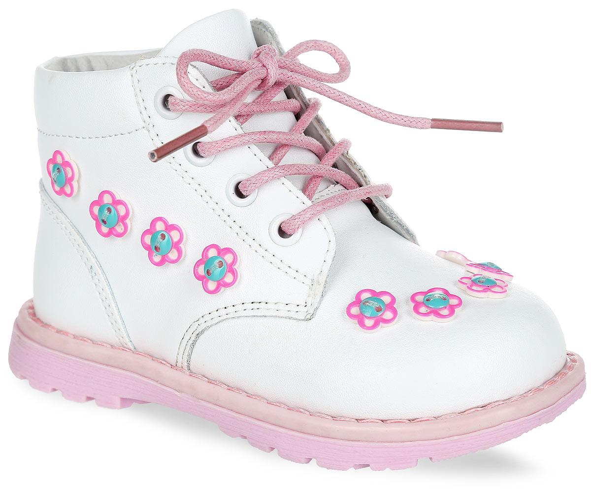 100452Чудесные ботинки от Mursu придутся по душе вашей маленькой моднице и идеально подойдут для повседневной носки! Модель полностью выполнена из натуральной кожи и оформлена сбоку, в области подъема декоративными элементами в форме цветков. Внутренняя часть и стелька, изготовленные из натуральной кожи, а также мягкий манжет предотвратят натирание и гарантируют уют. Стелька дополнена супинатором, который обеспечивает правильное положение ноги ребенка при ходьбе и предотвращает плоскостопие. Боковая застежка-молния и шнуровка надежно зафиксируют обувь на ноге ребенка. Максимально комфортная подошва обеспечивает отличное сцепление с поверхностью. Стильные ботинки - незаменимая вещь в гардеробе каждой девочки!