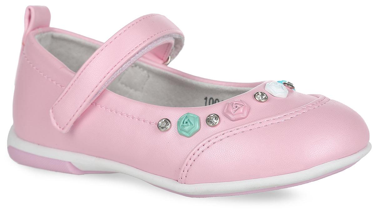 Туфли для девочки. 10015100151Модные туфли от Mursu помогут вашей девочке создать обворожительный образ. Модель выполнена из искусственной кожи и украшена декоративными элементами в виде цветов и стразами. Ярлычок на заднике предназначен для более удобного надевания обуви. Подкладка из натуральной кожи не натирает. Стелька из материала ЭВА с поверхностью из натуральной кожи дополнена супинатором, который обеспечивает правильное положение ноги ребенка при ходьбе, предотвращает плоскостопие. Ремешок на застежке-липучке надежно зафиксирует обувь на стопе. Максимально комфортная подошва обеспечивает отличное сцепление с поверхностью. Стильные туфли придутся по душе вашей девочке.