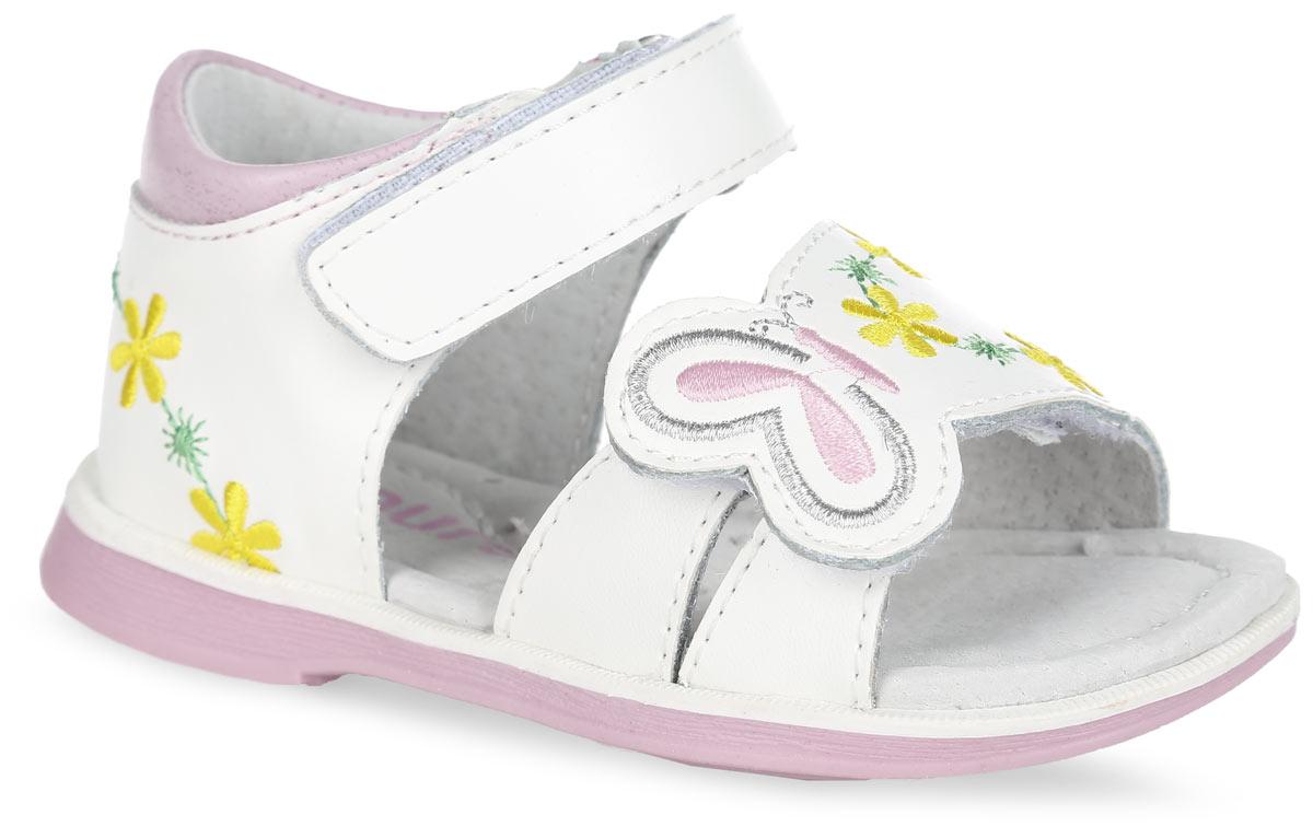 Босоножки для девочки. 100503100503Чудесные босоножки от Mursu придутся по душе вашей маленькой моднице и идеально подойдут для повседневной носки в летнюю погоду! Модель с закрытой пяткой изготовлена полностью из натуральной кожи. Ремешки на застежках-липучках надежно зафиксируют обувь на ножке. Нижний ремешок и задник декорированы оригинальной вышивкой в виде цветов и бабочки, кант - контрастной вставкой из кожи. Внутренняя часть и стелька, изготовленные из натуральной кожи, предотвратят натирание. Стелька дополнена супинатором, который обеспечивает правильное положение ноги ребенка при ходьбе и предотвращает плоскостопие. Максимально комфортная подошва обеспечивает отличное сцепление с поверхностью. Стильные босоножки - незаменимая вещь в гардеробе каждой девочки!
