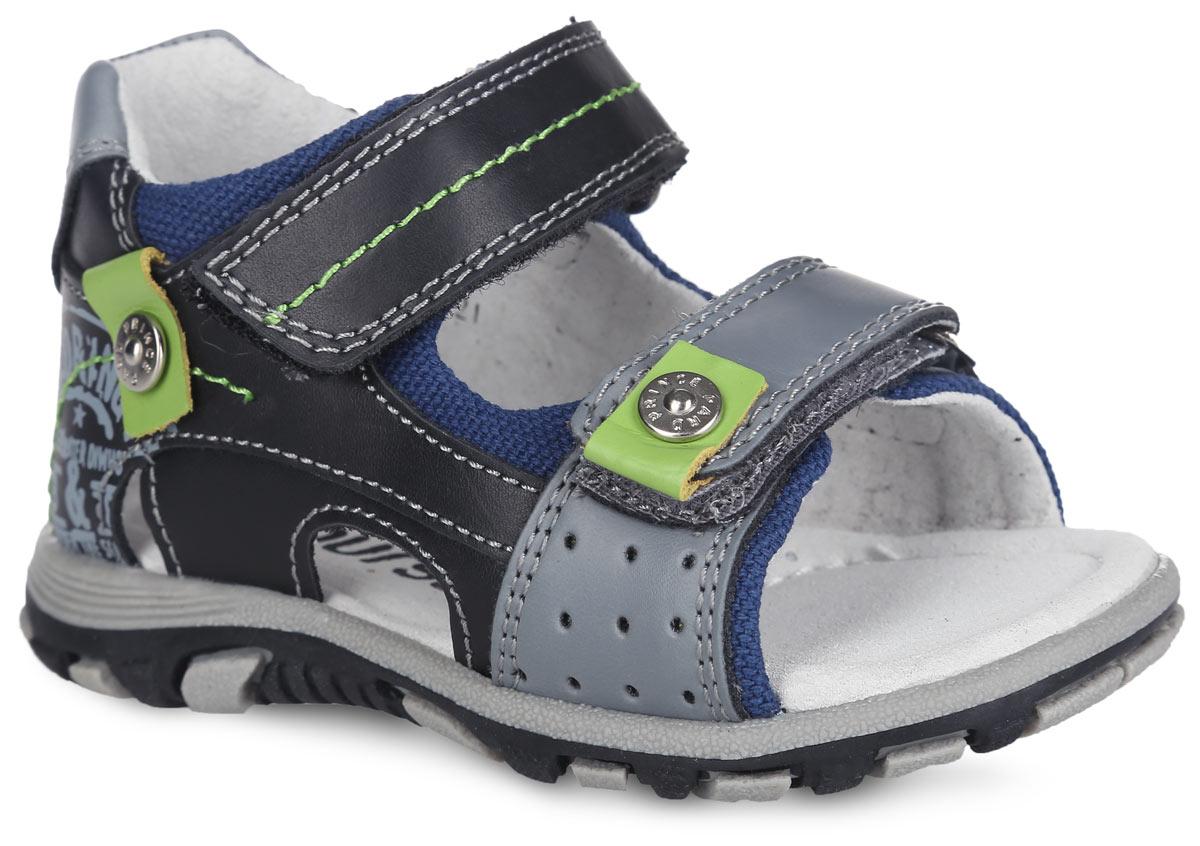 Сандалии для мальчика. 100516100516Стильные сандалии от Mursu придутся по душе вашему юному моднику и идеально подойдут для повседневной носки в летнюю погоду! Модель изготовлена полностью из натуральной кожи. Верхний ремешок дополнен контрастной прострочкой, нижний - клепкой в виде пуговицы, одна из боковых сторон - стильным принтом, клепкой в виде пуговицы и перфорацией. Внутренняя часть и стелька, изготовленные из натуральной кожи, предотвратят натирание и гарантируют уют. Стелька дополнена супинатором, который обеспечивает правильное положение ноги ребенка при ходьбе и предотвращает плоскостопие. Ремешки на застежках-липучках надежно зафиксируют обувь на ноге ребенка. Максимально комфортная подошва обеспечивает отличное сцепление с поверхностью. Модные сандалии - незаменимая вещь в гардеробе каждого ребенка!