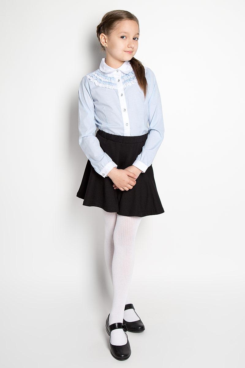 Блузка для девочки. 364042364042Блузка для девочки Scool, выполненная из эластичного хлопка с добавлением полиэстера, станет отличным дополнением к школьному гардеробу. Изделие не сковывает движения и хорошо пропускает воздух, обеспечивая наибольший комфорт. Блузка с отложным воротником и длинными рукавами застегивается на пуговицы по всей длине. На рукавах предусмотрены манжеты с застежками-пуговицами. Блузка оформлена принтом в узкую полоску. Спереди модель украшена оборками. Блузка отлично сочетается с юбками и брюками. В ней вашей принцессе всегда будет уютно и комфортно!