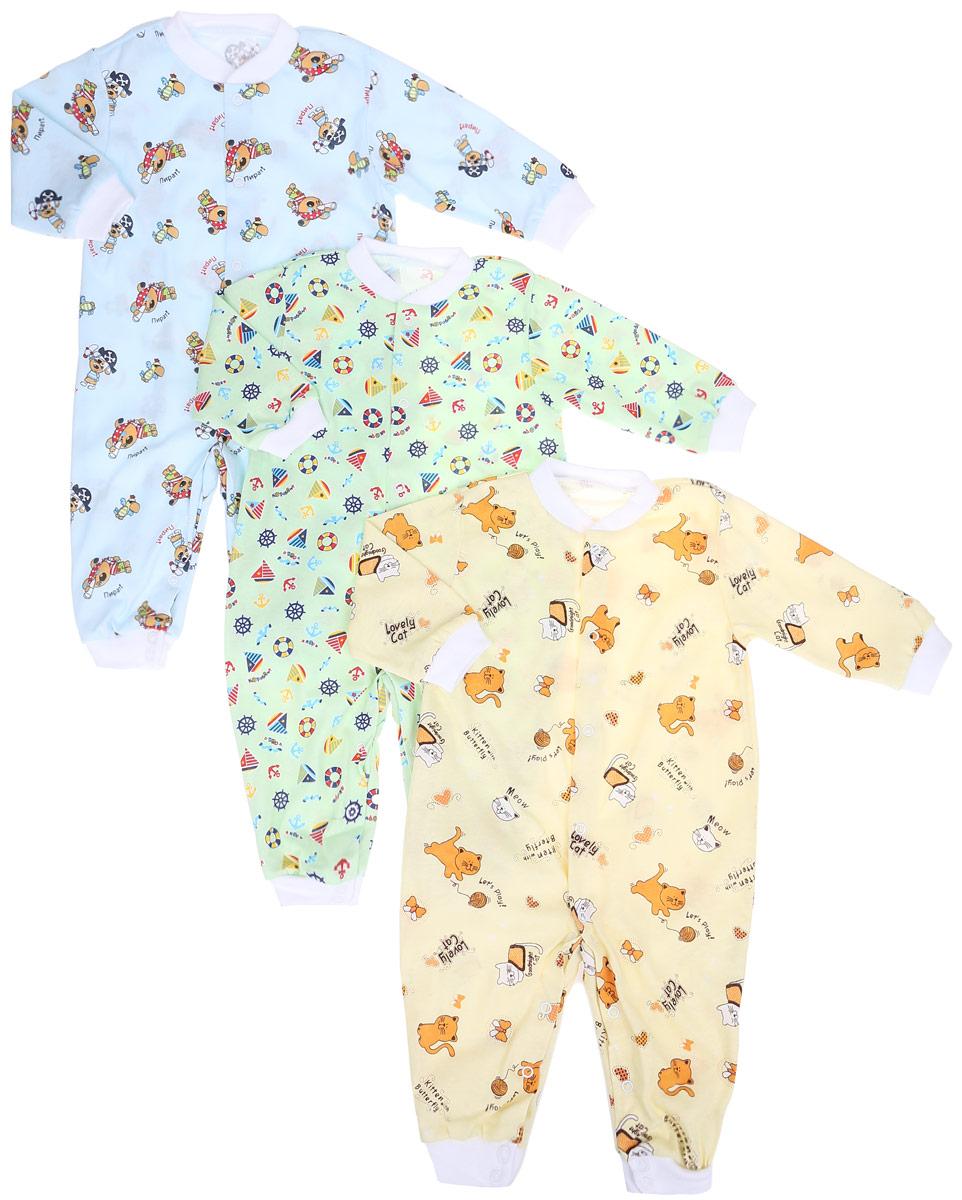 10-527мКомплект Фреш Стайл состоит из трех комбинезонов для мальчика разных цветов с забавными рисунками. Выполненные из натурального хлопка, они необычайно мягкие и приятные на ощупь, не раздражают нежную кожу ребенка и хорошо вентилируются. Комбинезоны с длинными рукавами, открытыми ножками и воротником-стойкой застегиваются спереди на кнопки по всей длине и на ластовице, что облегчает переодевание малыша и смену подгузника. Низ рукавов, низ брючин и горловина дополнены эластичной резинкой. Оригинальное сочетание тканей и забавный рисунок делают этот предмет детской одежды оригинальным и стильным.