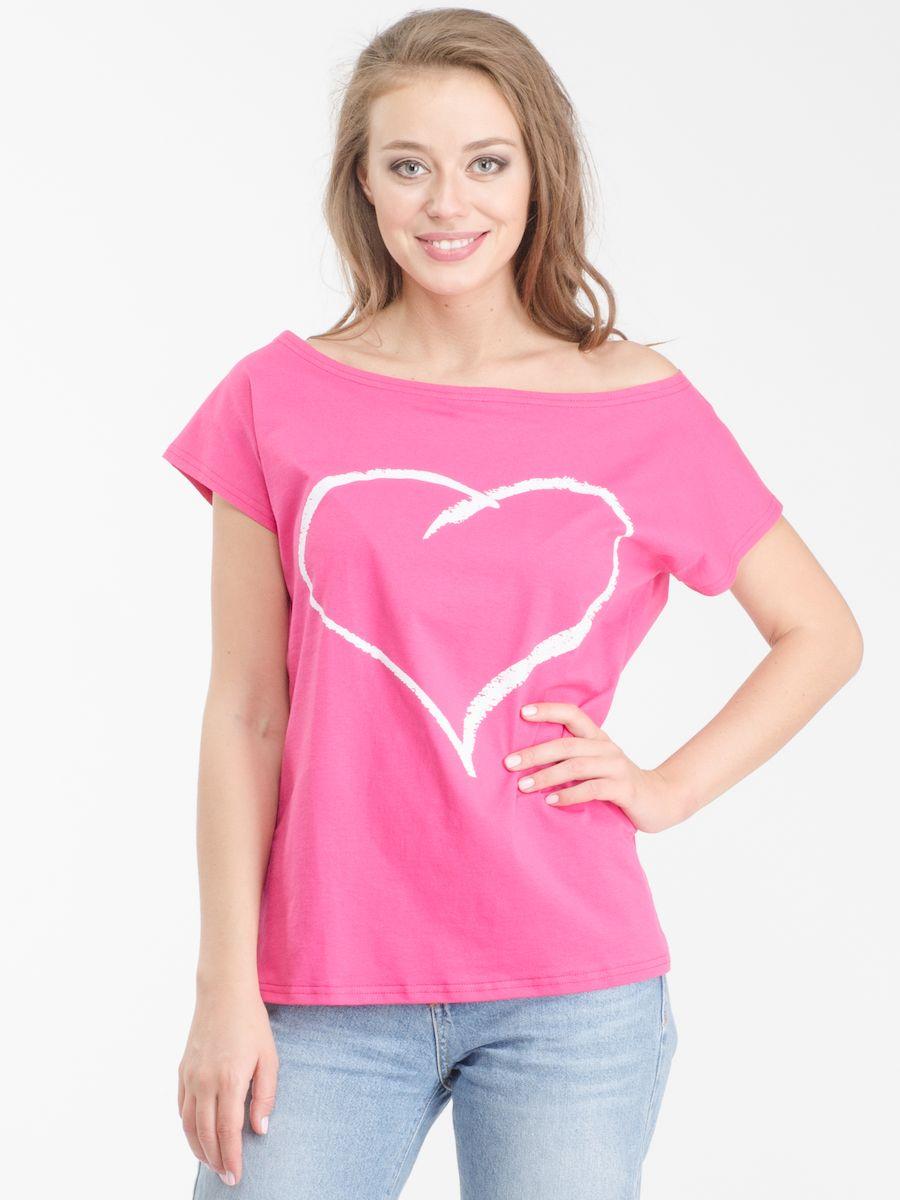 Футболка женская. R021617R021617Стильная женская футболка Rocawear, выполненная из натурального хлопка, обладает высокой теплопроводностью, воздухопроницаемостью и гигроскопичностью, позволяет коже дышать. Модель с короткими цельнокроеными рукавами и воротником-лодочкой - идеальный вариант для создания стильного современного образа. Такую футболку можно также носить на одно плечо. Небрежное спадание и оголенное плечо добавляют игривости и привлекательности в ваш образ. Футболка оформлена оригинальным принтом с изображением сердца. Такая модель подарит вам комфорт в течение всего дня и послужит замечательным дополнением к вашему гардеробу.