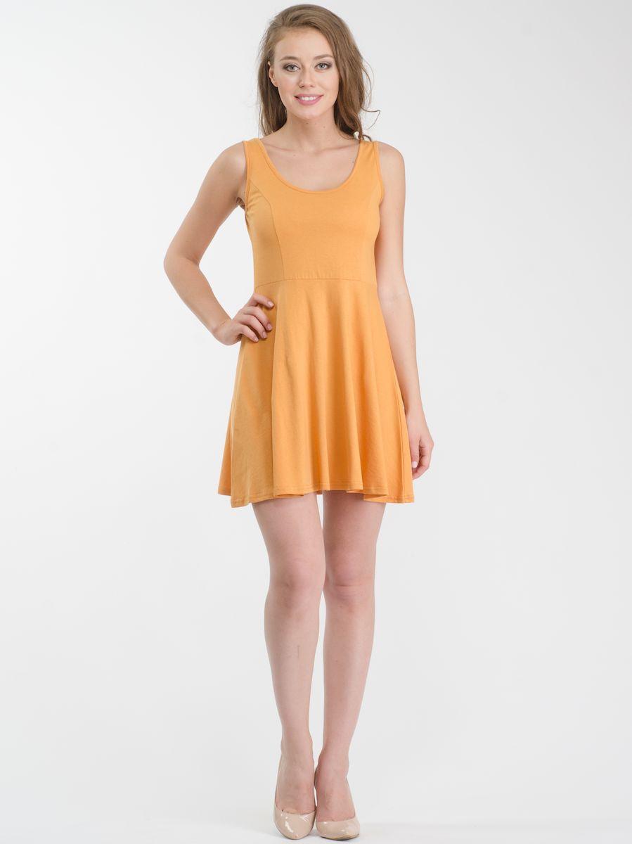 ПлатьеR021636Стильное платье мини-длины выполнено из натурального хлопка. Модель А-силуэта с круглым вырезом горловины и без рукавов.