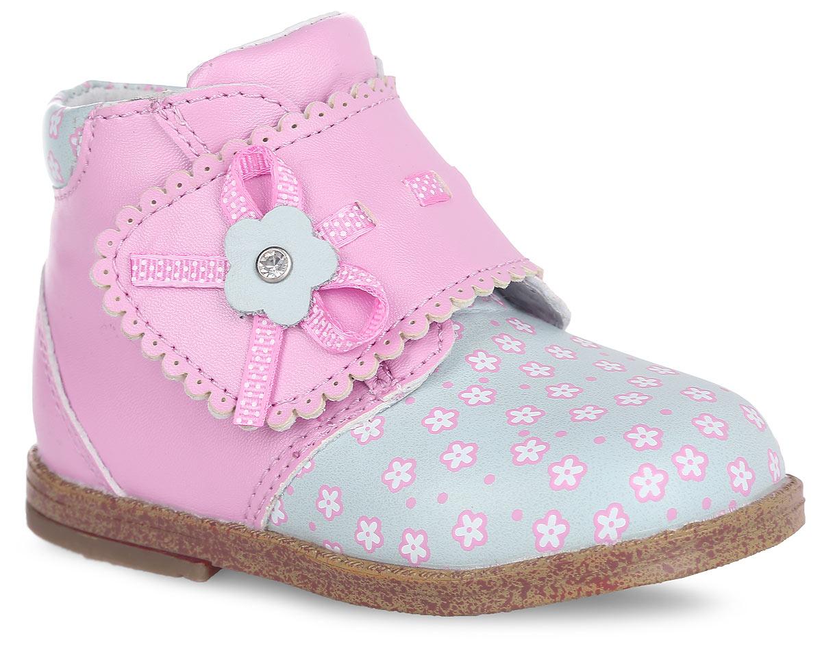 Ботинки для девочки. 100119100119Прелестные ботинки от Mursu придутся по душе вашей маленькой моднице и идеально подойдут для повседневной носки! Верх модели выполнен из искусственной кожи и оформлен в передней части, по канту сзади цветочным принтом, на ремешке - волнообразной окантовкой, атласной лентой с принтом в горох, пропущенной через отверстия, и цветочной аппликацией, инкрустированной стразом. Внутренняя часть и стелька, изготовленные из натуральной кожи, предотвратят натирание и гарантируют уют. Стелька дополнена супинатором, который обеспечивает правильное положение ноги ребенка при ходьбе и предотвращает плоскостопие. Ремешок на застежке- липучке надежно зафиксирует модель на ноге ребенка. Максимально комфортная подошва обеспечивает отличное сцепление с поверхностью. Стильные ботинки - незаменимая вещь в гардеробе каждой девочки!