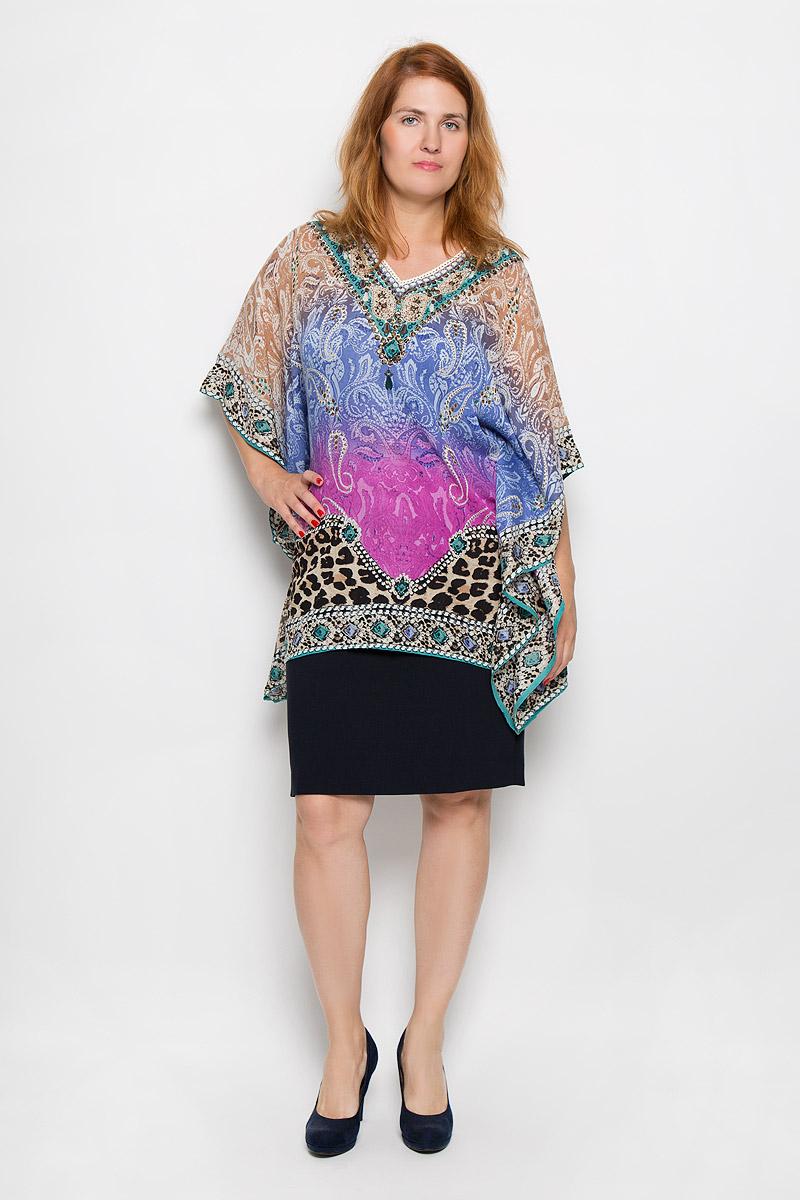 БлузкаS16-14085_814Стильная женская блуза Finn Flare, выполненная из 100% вискозы, подчеркнет ваш уникальный стиль и поможет создать оригинальный женственный образ. Блузка свободного кроя с рукавами летучая мышь длиной 3/4 и V-образным вырезом горловины оформлена ярким принтом и украшена пайетками. Легкая блуза идеально подойдет для жарких летних дней. Такая блузка будет дарить вам комфорт в течение всего дня и послужит замечательным дополнением к вашему гардеробу.