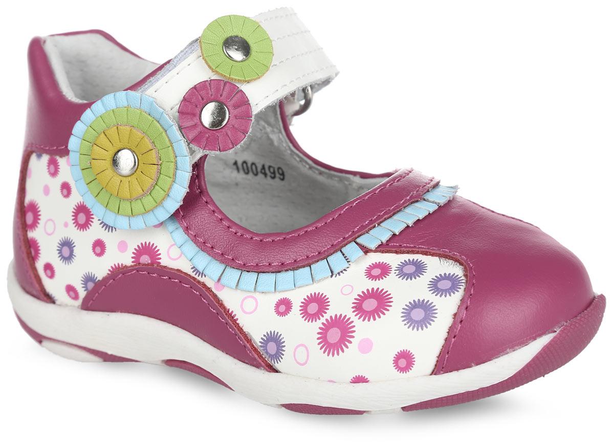 Туфли для девочки. 100499100499Очаровательные туфли от Mursu придутся по душе вашей дочурке. Модель выполнена из натуральной кожи контрастных цветов и декорирована по бокам ярким принтом, по канту в области подъема - бахромой, на ремешке - оригинальными цветочными аппликациями. Подкладка и стелька из натуральной кожи предотвратят натирание и гарантируют уют. Стелька дополнена супинатором, который обеспечивает правильное положение ноги ребенка при ходьбе, предотвращает плоскостопие. Ремешок на застежке-липучке надежно зафиксирует обувь на стопе. Максимально комфортная подошва обеспечивает отличное сцепление с поверхностью. Стильные туфли придутся по душе вашей малышке.