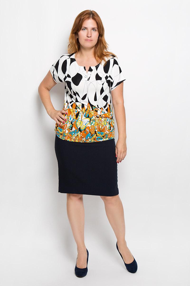 Футболка946мСтильная женская футболка Milana Style, выполненная из эластичной вискозы, обладает высокой теплопроводностью, воздухопроницаемостью и гигроскопичностью, позволяет коже дышать. Модель с короткими цельнокроеными рукавами и V-образным вырезом горловины - идеальный вариант для создания стильного современного образа. Футболка украшена крупным принтом с изображением бабочек. Такая модель подарит вам комфорт в течение всего дня и послужит замечательным дополнением к вашему гардеробу.