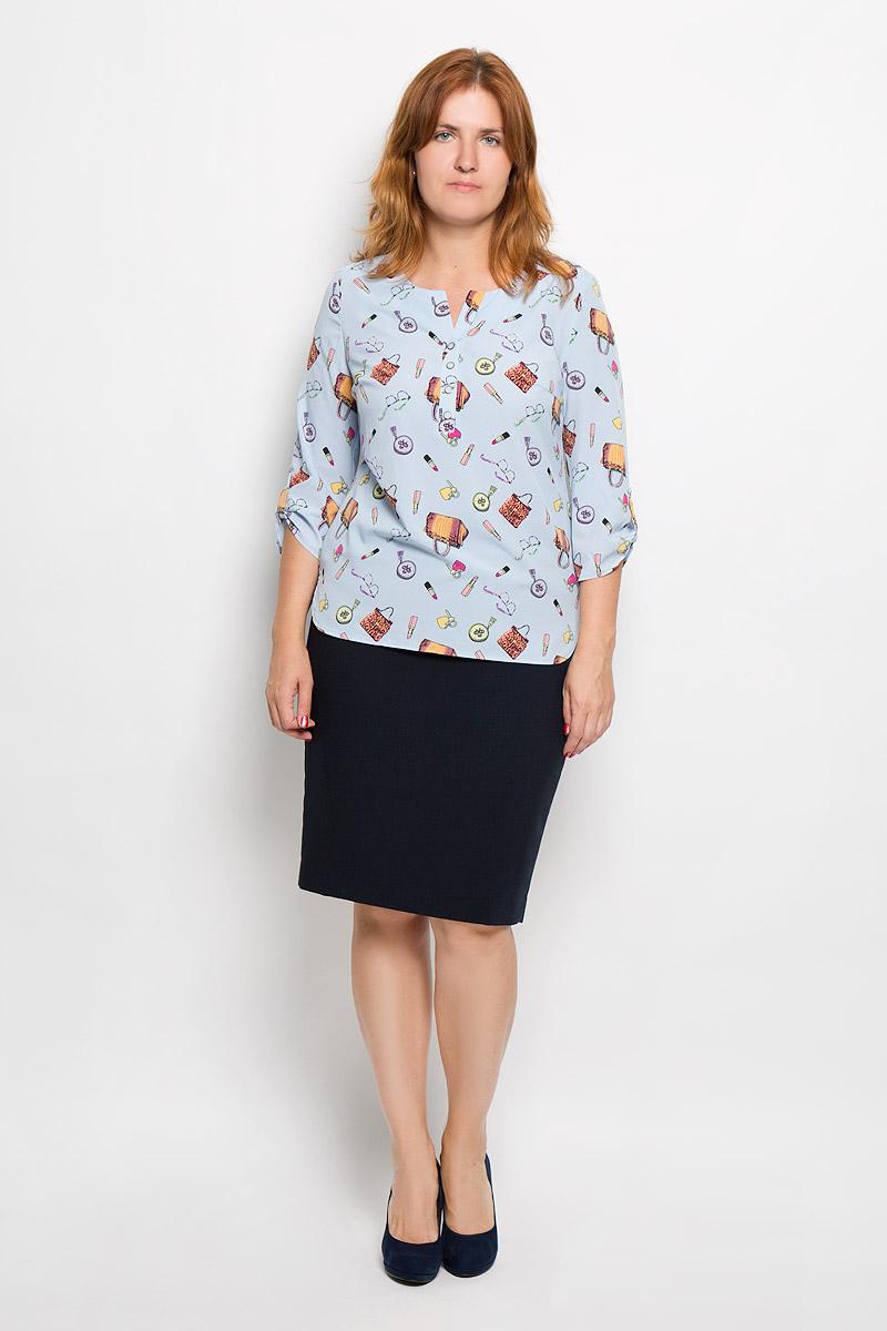 Блузка женская. 937м_сумки, помада937мСтильная женская блуза Milana Style, выполненная из эластичного полиэстера с добавлением вискозы, подчеркнет ваш уникальный стиль и поможет создать оригинальный женственный образ. Блузка с рукавами 3/4 и V-образным вырезом горловины оформлена принтом с изображением сумочек, очков и губной помады. Изделие застегивается на пуговицы на груди, рукава дополнены хлястиками на пуговицах. Модель имеет удлиненную спинку. Такая блузка идеально подойдет для жарких летних дней. Эта блузка будет дарить вам комфорт в течение всего дня и послужит замечательным дополнением к вашему гардеробу.