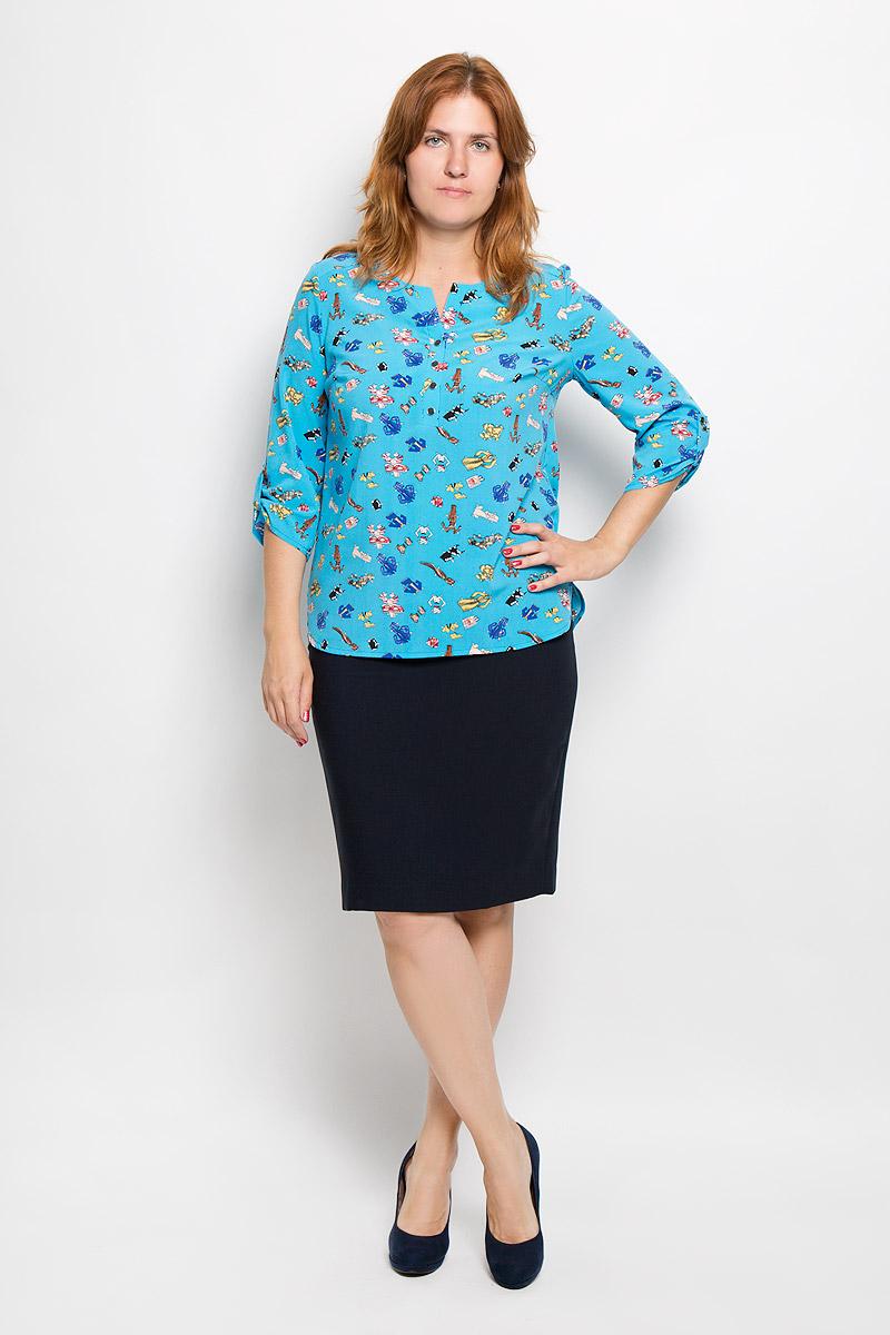 Блузка женская. 937м_одежда937мСтильная женская блуза Milana Style, выполненная из эластичного полиэстера с добавлением вискозы, подчеркнет ваш уникальный стиль и поможет создать оригинальный женственный образ. Блузка с рукавами 3/4 и V-образным вырезом горловины оформлена принтом с изображением бумажных платьев. Изделие застегивается на пуговицы на груди, рукава дополнены хлястиками на пуговицах. Модель имеет удлиненную спинку. Такая блузка идеально подойдет для жарких летних дней. Эта блузка будет дарить вам комфорт в течение всего дня и послужит замечательным дополнением к вашему гардеробу.