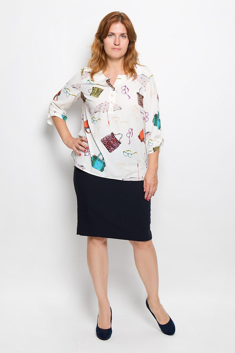 Блузка937мСтильная женская блуза Milana Style, выполненная из эластичного полиэстера с добавлением вискозы, подчеркнет ваш уникальный стиль и поможет создать оригинальный женственный образ. Блузка с рукавами 3/4 и V-образным вырезом горловины оформлена принтом с изображением сумочек. Изделие застегивается на пуговицы на груди, рукава дополнены хлястиками на пуговицах. Модель имеет удлиненную спинку. Такая блузка идеально подойдет для жарких летних дней. Эта блузка будет дарить вам комфорт в течение всего дня и послужит замечательным дополнением к вашему гардеробу.