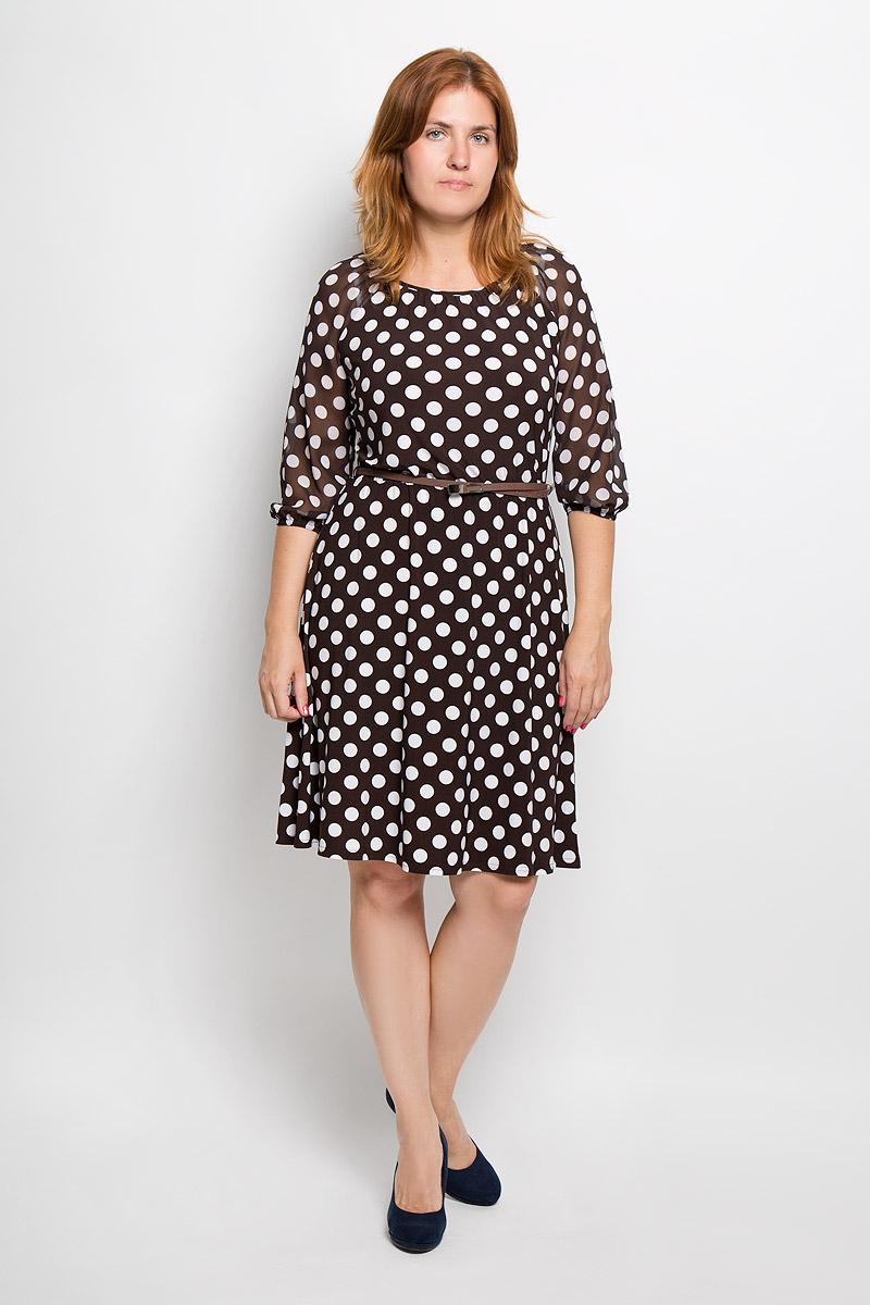 877мЭлегантное платье Milana Style выполнено из высококачественного эластичного полиэстера с добавлением вискозы. Такое платье обеспечит вам комфорт и удобство при носке и непременно вызовет восхищение у окружающих. Модель с круглой горловиной и рукавами-реглан длиной 3/4 выполнена из высококачественного материала и оформлена принтом в крупный горох. Рукава изготовлены из полупрозрачной ткани. На талии изделие присборено на эластичную резинку. В комплект входит тонкий ремешок из искусственной кожи с металлической пряжкой. Изысканное платье-миди создаст обворожительный и неповторимый образ. Это модное и удобное платье станет превосходным дополнением к вашему гардеробу, оно подарит вам удобство и поможет подчеркнуть свой вкус и неповторимый стиль.