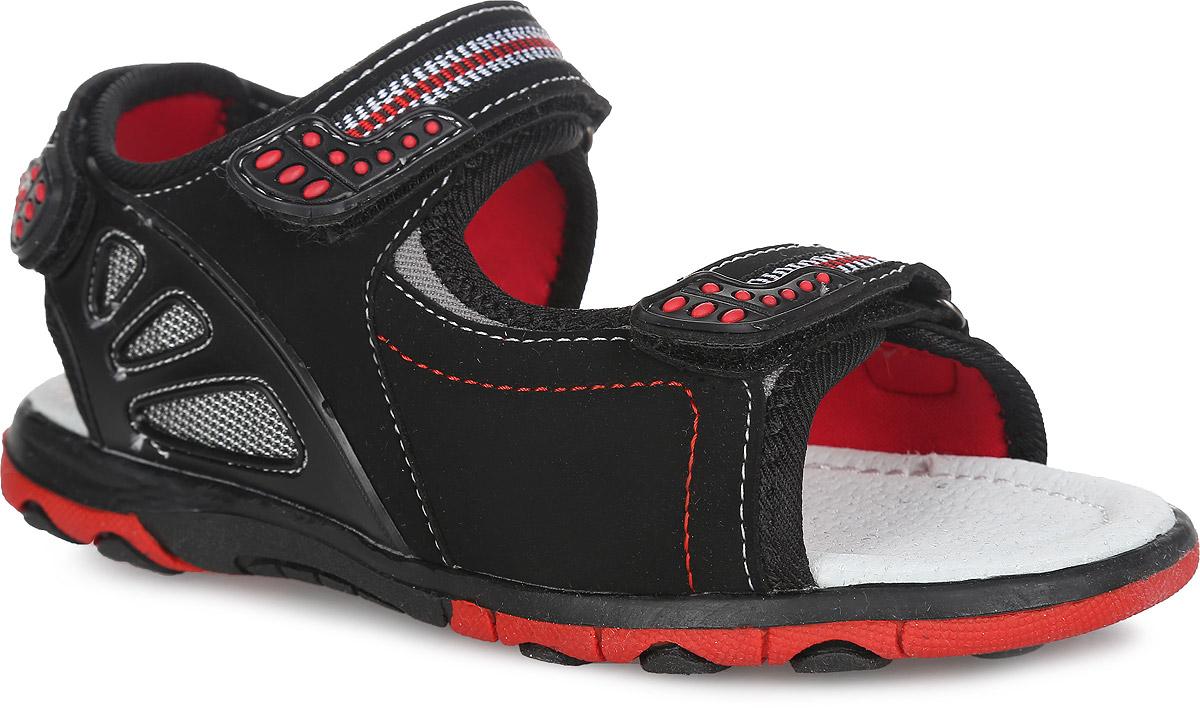 Сандалии для мальчика. 100616100616Модные сандалии от Mursu придутся по душе вашему мальчику. Модель, изготовленная из искусственной кожи и текстиля, сбоку оформлена нашивкой из ПВХ. Ремешки с застежками-липучками, оформленные декоративной тесьмой и нашивками из ПВХ, обеспечивают надежную фиксацию модели на ноге. Внутренняя поверхность из текстиля не натирает. Стелька из натуральной кожи дополнена супинатором, который обеспечивает правильное положение стопы ребенка при ходьбе и предотвращает плоскостопие. Подошва с рифлением обеспечивает сцепление с любой поверхностью. Стильные сандалии - незаменимая вещь в гардеробе каждого мальчика!