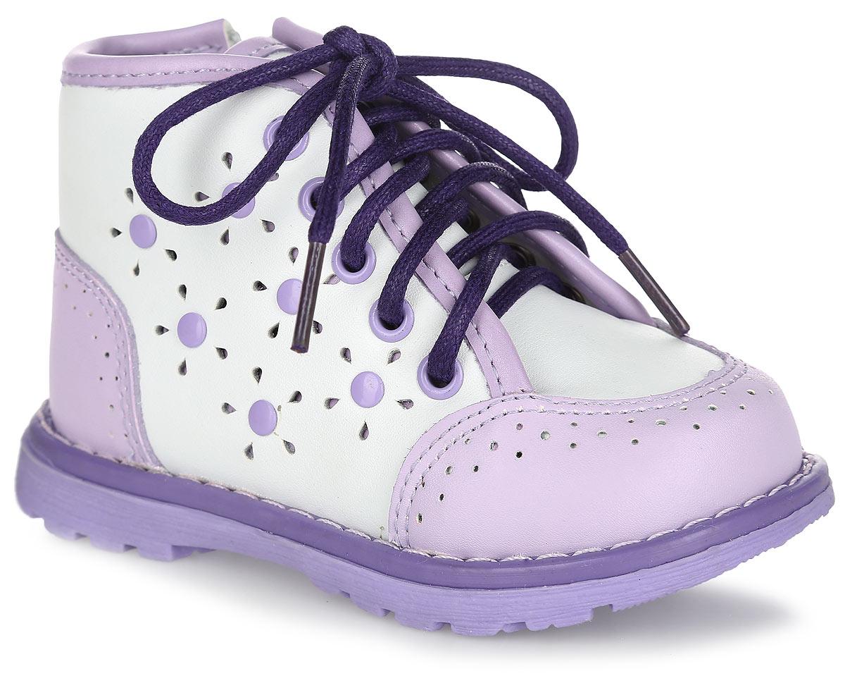 Ботинки для девочки. 100417100417Восхитительные ботинки от Mursu придутся по душе вашей маленькой моднице и идеально подойдут для повседневной носки! Модель полностью выполнена из натуральной кожи и оформлена контрастной окантовкой, на мысе и заднике - контрастными вставками с перфорацией, сбоку - перфорацией в виде цветов и клепками, по ранту - светлой прострочкой. Внутренняя часть и стелька, изготовленные из натуральной кожи, предотвратят натирание и гарантируют уют. Стелька дополнена супинатором, который обеспечивает правильное положение ноги ребенка при ходьбе и предотвращает плоскостопие. Боковая застежка- молния и шнуровка надежно зафиксируют обувь на ноге ребенка. Максимально комфортная подошва обеспечивает отличное сцепление с поверхностью. Стильные ботинки - незаменимая вещь в гардеробе каждой девочки!