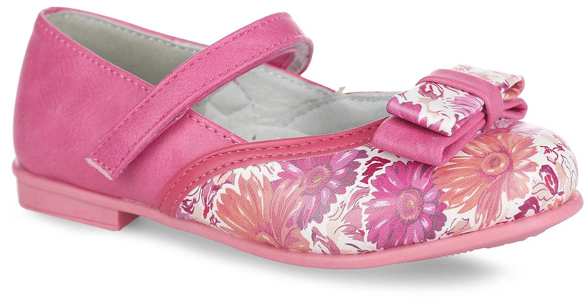 Туфли для девочки. 100350100350Модные туфли на невысоком широком каблуке от Mursu помогут вашей девочке создать обворожительный образ. Модель выполнена из искусственной кожи и оформлена в передней части яркими цветочными изображениями. Мыс украшает стильный бантик. Подкладка и стелька из натуральной кожи предотвратят натирание и гарантируют уют. Стелька дополнена супинатором, который обеспечивает правильное положение ноги ребенка при ходьбе, предотвращает плоскостопие. Ремешок на застежке-липучке надежно зафиксирует обувь на стопе. Максимально комфортная подошва обеспечивает отличное сцепление с поверхностью. Стильные туфли придутся по душе вашей малышке.