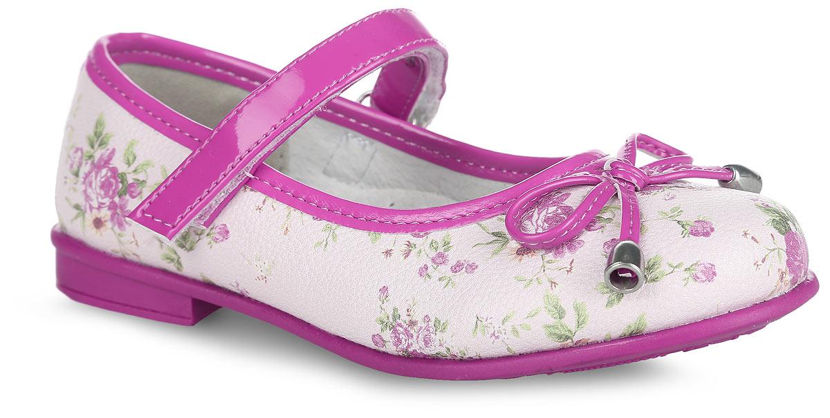 Туфли для девочки. 100354100354Чудесные туфли на невысоком широком каблуке от Mursu помогут вашей девочке создать обворожительный образ. Модель выполнена из искусственной кожи, оформленной цветочным принтом. Мыс декорирован милым бантиком со стильной фурнитурой. Подкладка и стелька из натуральной кожи предотвратят натирание и гарантируют уют. Стелька дополнена супинатором, который обеспечивает правильное положение ноги ребенка при ходьбе, предотвращает плоскостопие. Ремешок на застежке-липучке надежно зафиксирует обувь на стопе. Максимально комфортная подошва обеспечивает отличное сцепление с поверхностью. Стильные туфли придутся по душе вашей малышке.