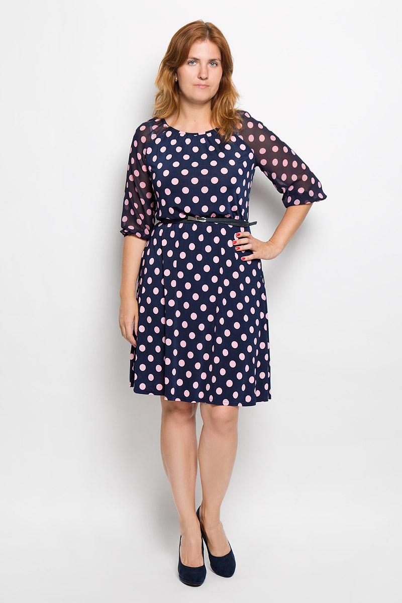 Платье877мЭлегантное платье Milana Style выполнено из высококачественного эластичного полиэстера с добавлением вискозы. Такое платье обеспечит вам комфорт и удобство при носке и непременно вызовет восхищение у окружающих. Модель с круглой горловиной и рукавами-реглан длиной 3/4 выполнена из высококачественного материала и оформлена принтом в крупный горох. Рукава изготовлены из полупрозрачной ткани. На талии изделие присборено на эластичную резинку. В комплект входит тонкий ремешок из искусственной кожи с металлической пряжкой. Изысканное платье-миди создаст обворожительный и неповторимый образ. Это модное и удобное платье станет превосходным дополнением к вашему гардеробу, оно подарит вам удобство и поможет подчеркнуть свой вкус и неповторимый стиль.