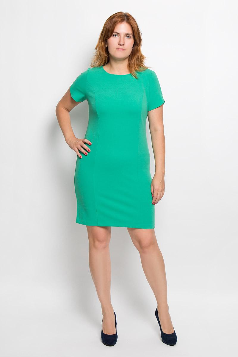Платье940мЭлегантное платье Milana Style выполнено из высококачественного эластичного полиэстера с добавлением вискозы. Такое платье обеспечит вам комфорт и удобство при носке и непременно вызовет восхищение у окружающих. Модель-миди с короткими рукавами и круглым вырезом горловины выгодно подчеркнет все достоинства вашей фигуры. Рукава платья украшены небольшими подвесками со стразами. Изысканное платье-миди создаст обворожительный и неповторимый образ. Это модное и удобное платье станет превосходным дополнением к вашему гардеробу, оно подарит вам удобство и поможет подчеркнуть свой вкус и неповторимый стиль.