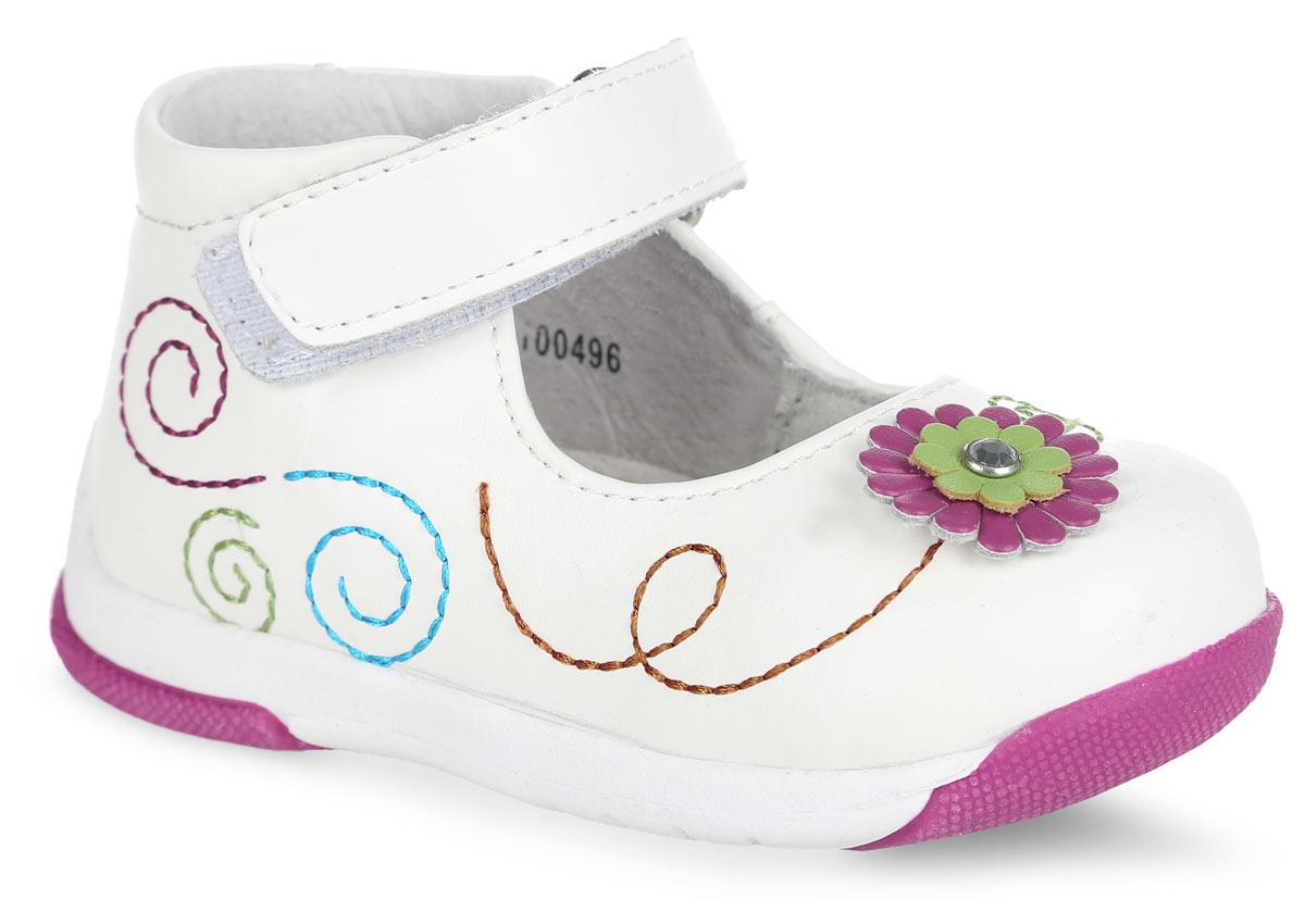Туфли для девочки. 100496100496Прелестные туфли от Mursu придутся по душе вашей юной моднице! Модель, изготовленная из натуральной кожи, оформлена разноцветными декоративными прострочками, на мысе - декоративным цветком со стразом. Ремешок с застежкой-липучкой отвечает за надежную фиксацию модели на ноге. Внутренняя поверхность из натуральной кожи не натирает. Стелька из материала ЭВА с поверхностью из натуральной кожи дополнена супинатором, который обеспечивает правильное положение ноги ребенка при ходьбе, предотвращает плоскостопие. Подошва с рифлением обеспечивает идеальное сцепление с любыми поверхностями. Стильные туфли - незаменимая вещь в гардеробе каждой девочки.