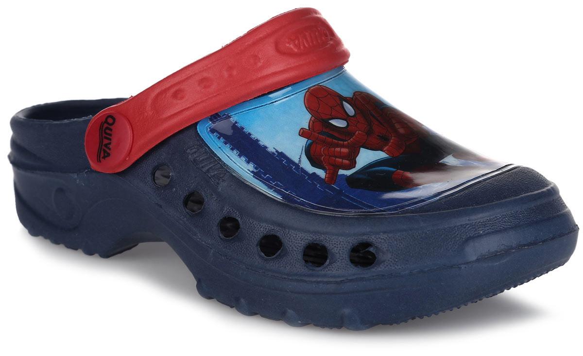 Сабо для мальчика Spiderman. SP002180SP002180Модные сабо Spiderman от Mursu придутся по душе вашему мальчику. Модель изготовлена из материала ЭВА, благодаря которому обувь невероятно легкая и удобная, она легко моется и быстро сохнет. Отверстия, расположенные по бокам обеспечивают естественную вентиляцию. Передняя часть модели оформлена вставкой из ПВХ с изображением Человека-паука. Пяточный ремешок предназначен для фиксации стопы при ходьбе. Рифление на подошве гарантирует идеальное сцепление с любой поверхностью. Такие сабо - отличное решение для каждодневного использования!